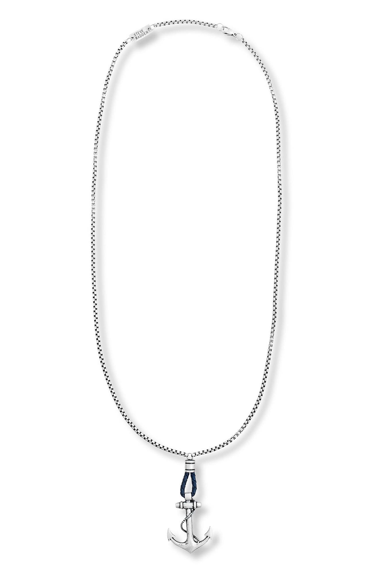 Alternate Image 1 Selected - Steve Madden Oxidized Anchor Pendant Necklace