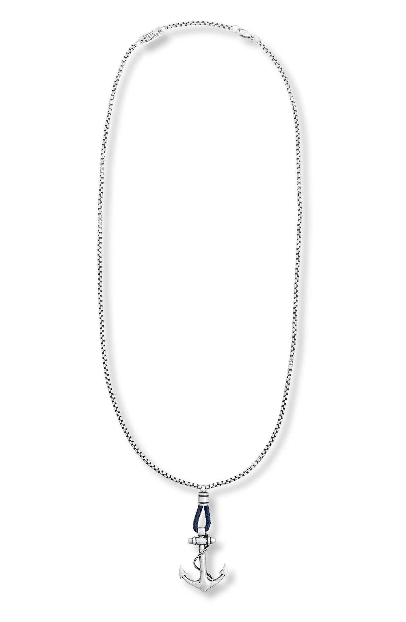 Oxidized Anchor Pendant Necklace,                         Main,                         color, Blue