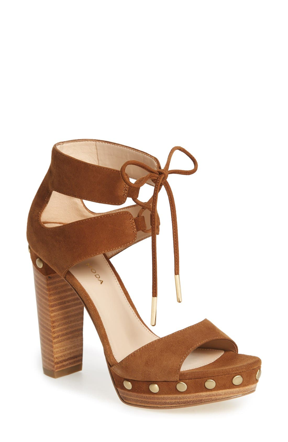 Pacific Platform Sandal,                         Main,                         color, Cognac Leather