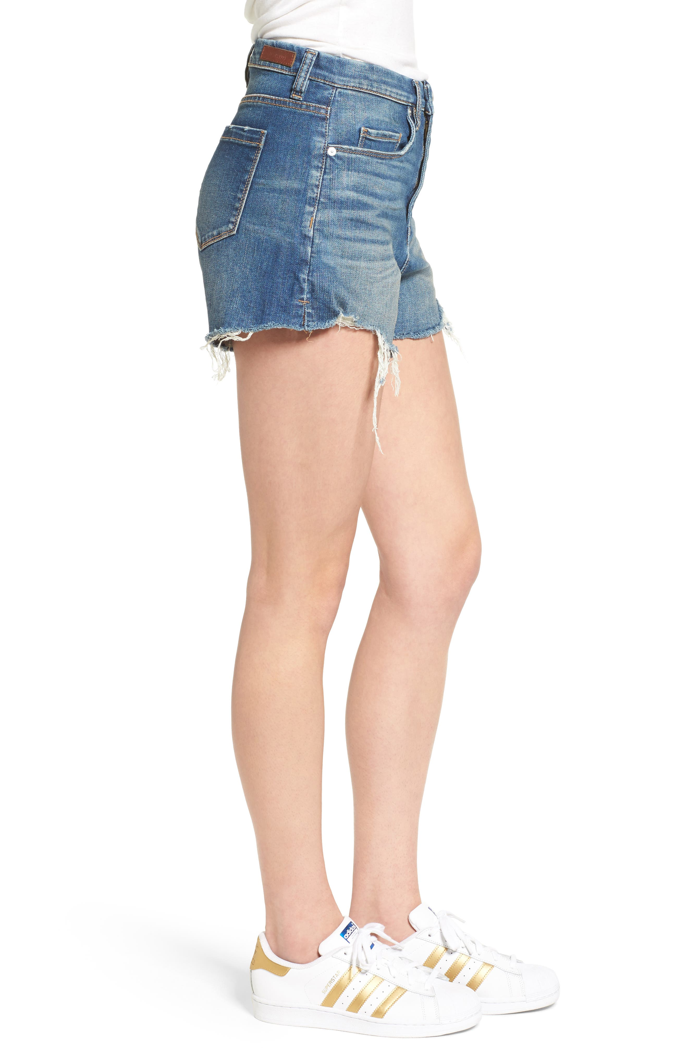 High Rise Cutoff Denim Shorts,                             Alternate thumbnail 3, color,                             Blue