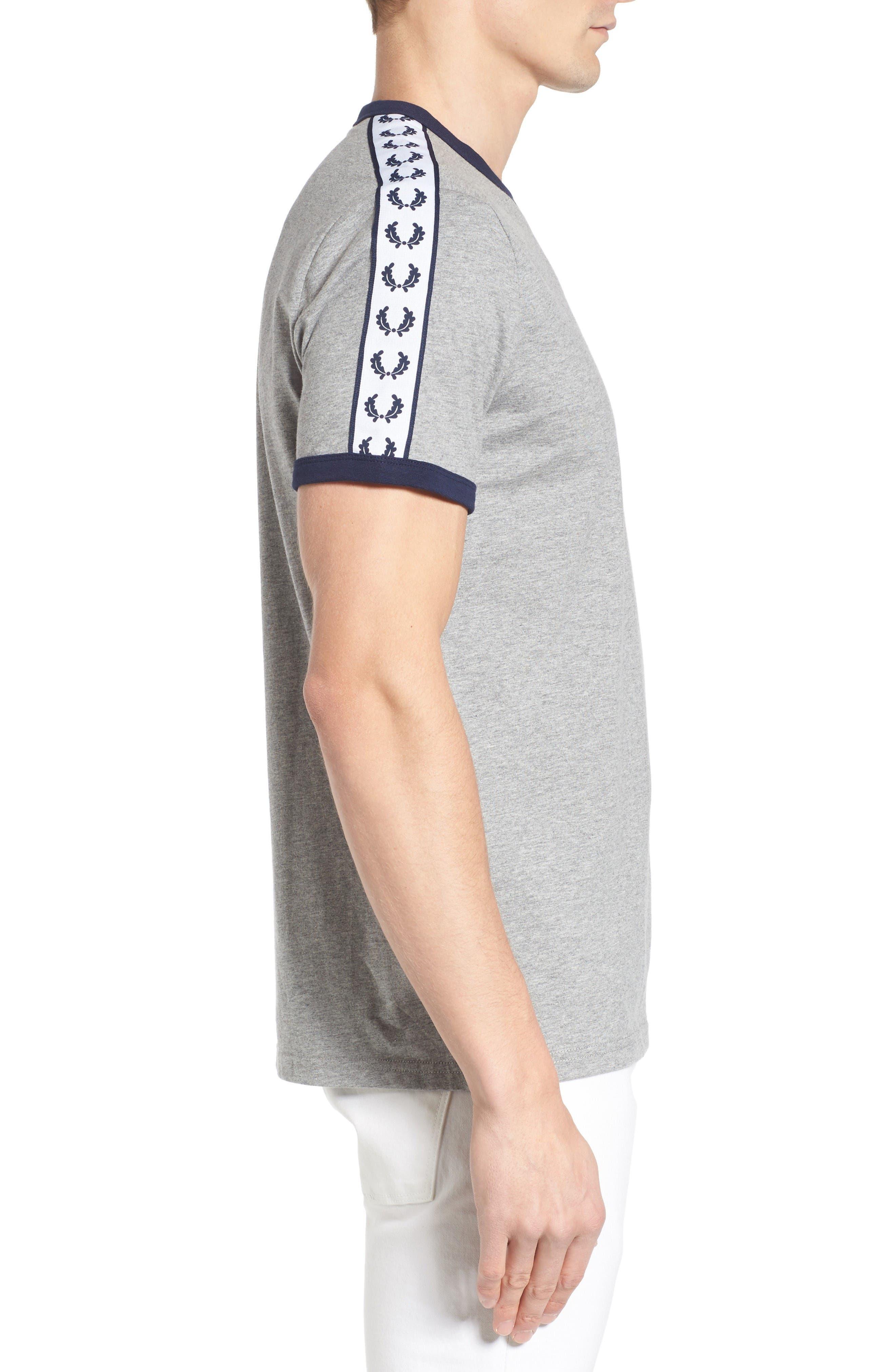 Extra Trim Fit Cotton Ringer T-Shirt,                             Alternate thumbnail 3, color,                             Steel Marl