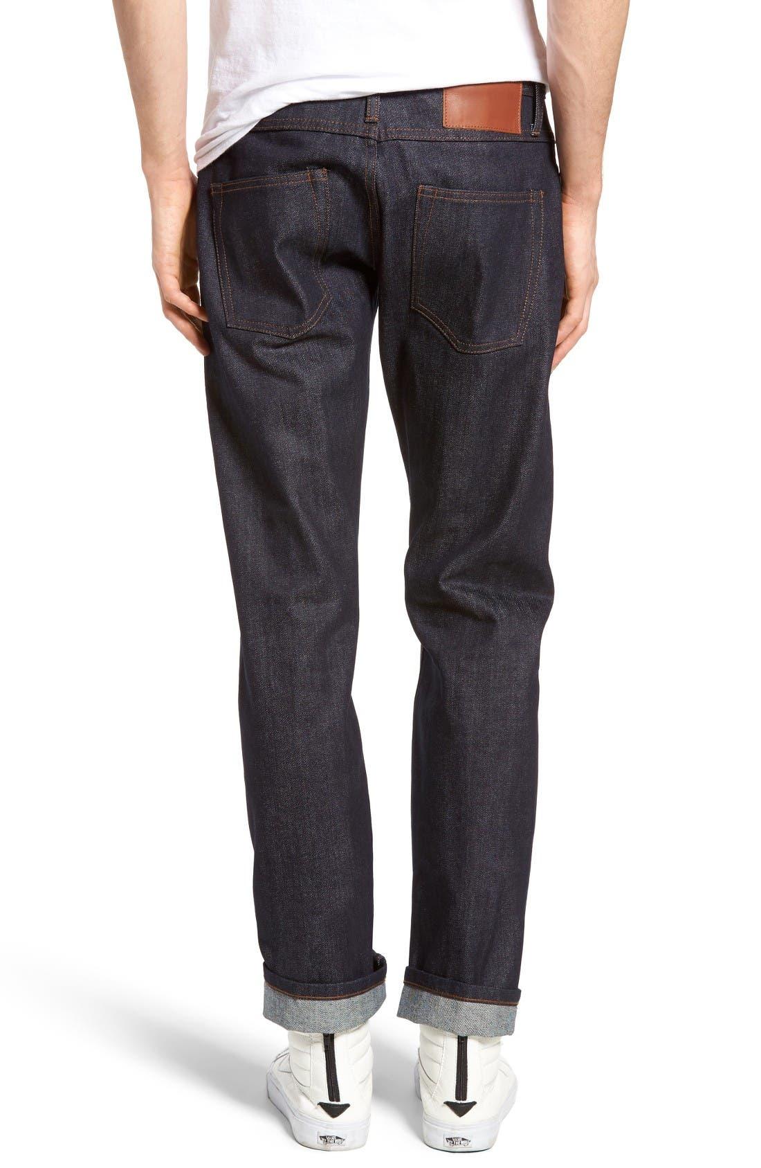 Alternate Image 2  - The Unbranded Brand UB301 Straight Leg Raw Selvedge Jeans (Indigo)