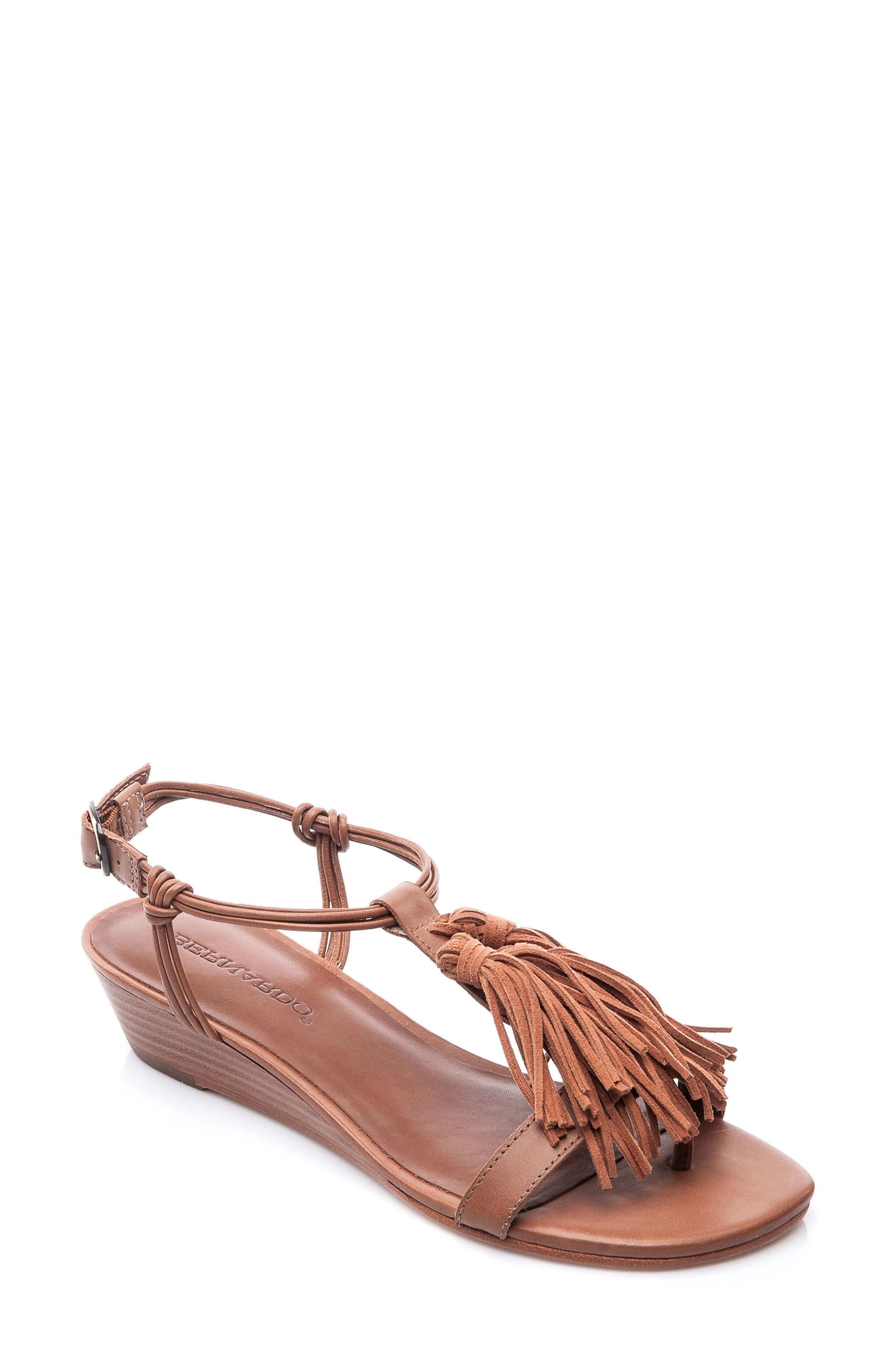 Footwear Court Fringe Leather Sandal,                         Main,                         color, Luggage Leather