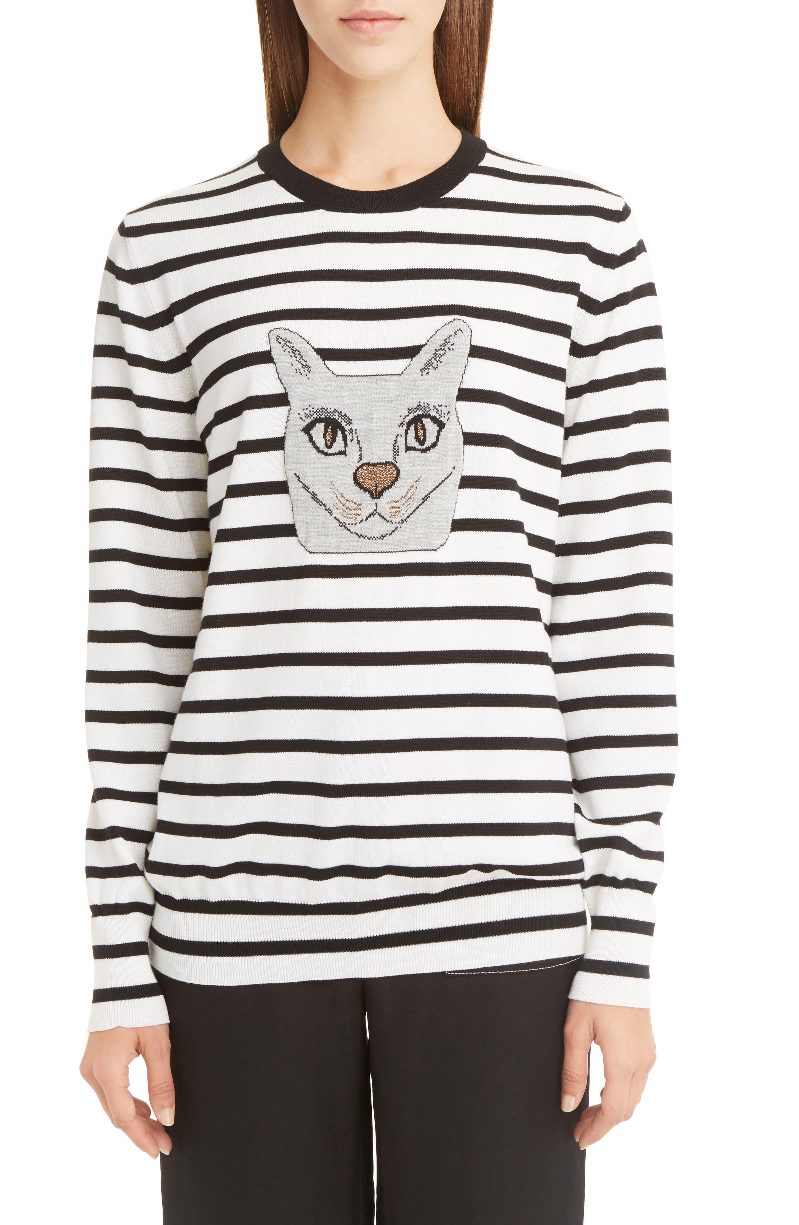 Alternate Image 1 Selected - Loewe Cat Stripe Wool Blend Sweater