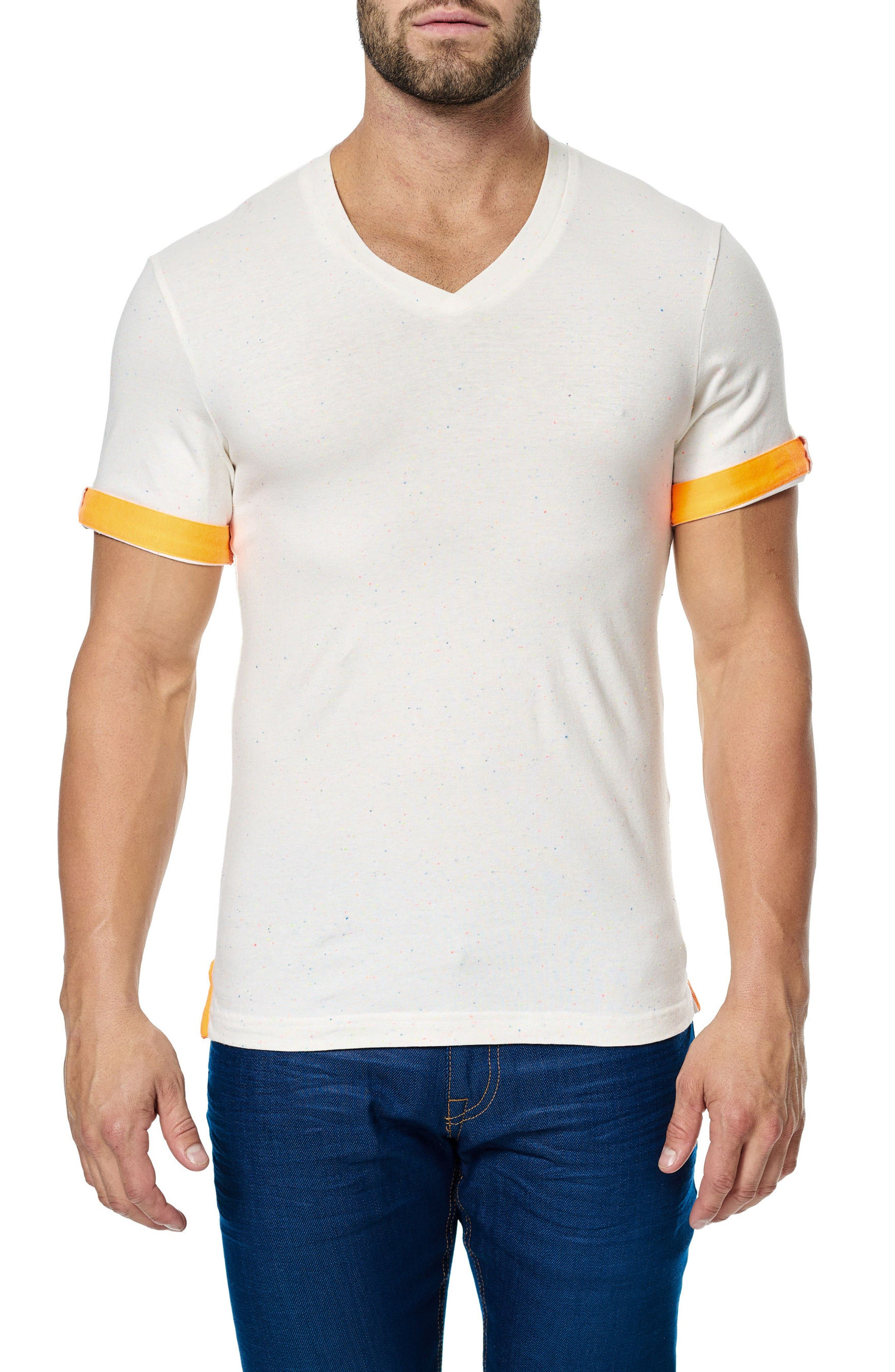 V-Neck Stretch T-Shirt,                             Alternate thumbnail 3, color,                             Solid White