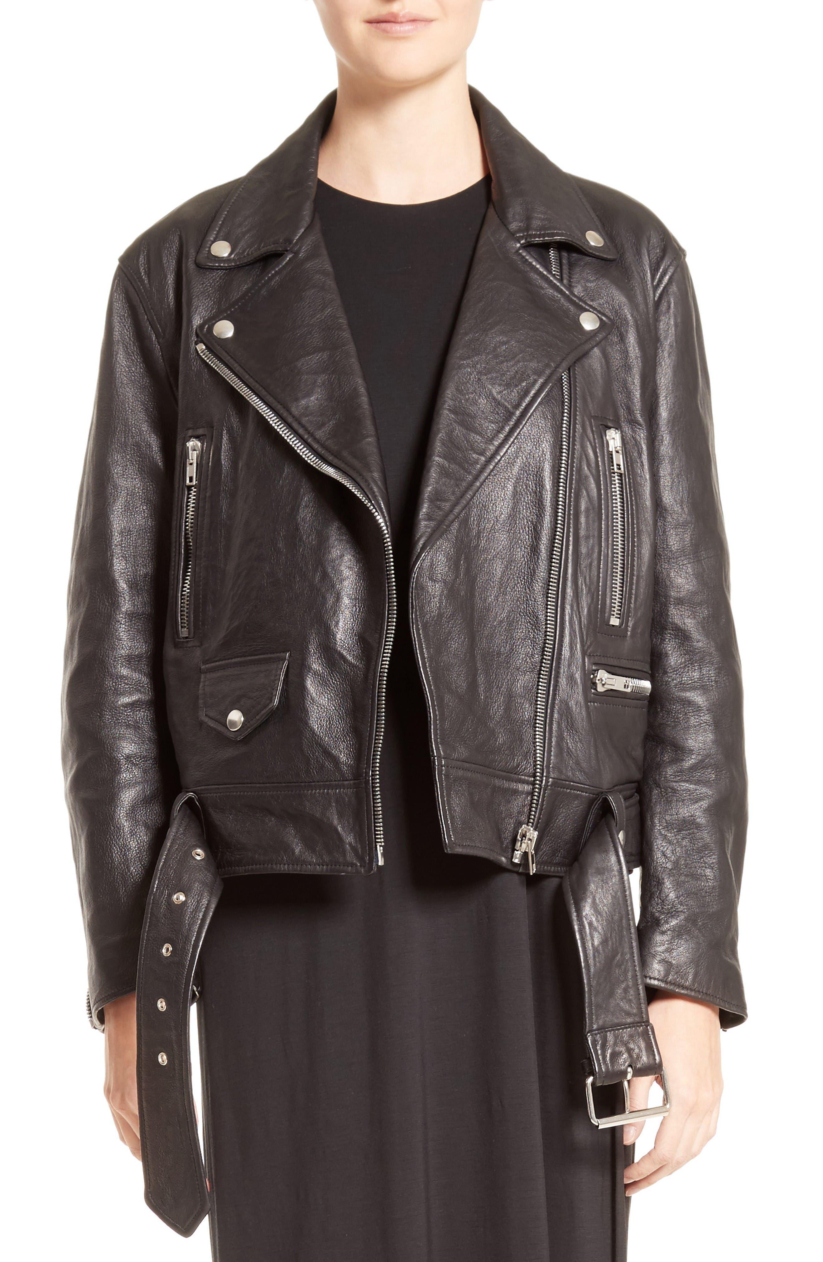 Merlyn Leather Jacket,                             Alternate thumbnail 7, color,                             Black