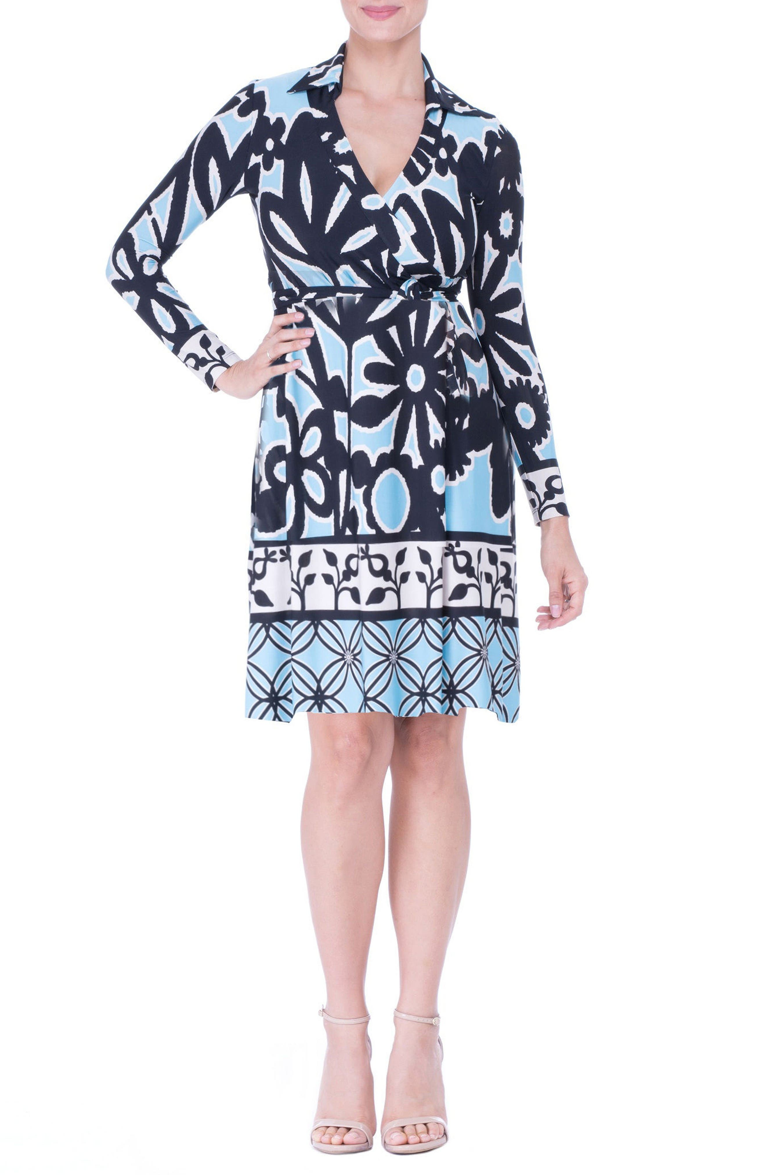 Maternity Wrap Dress,                         Main,                         color, Blue