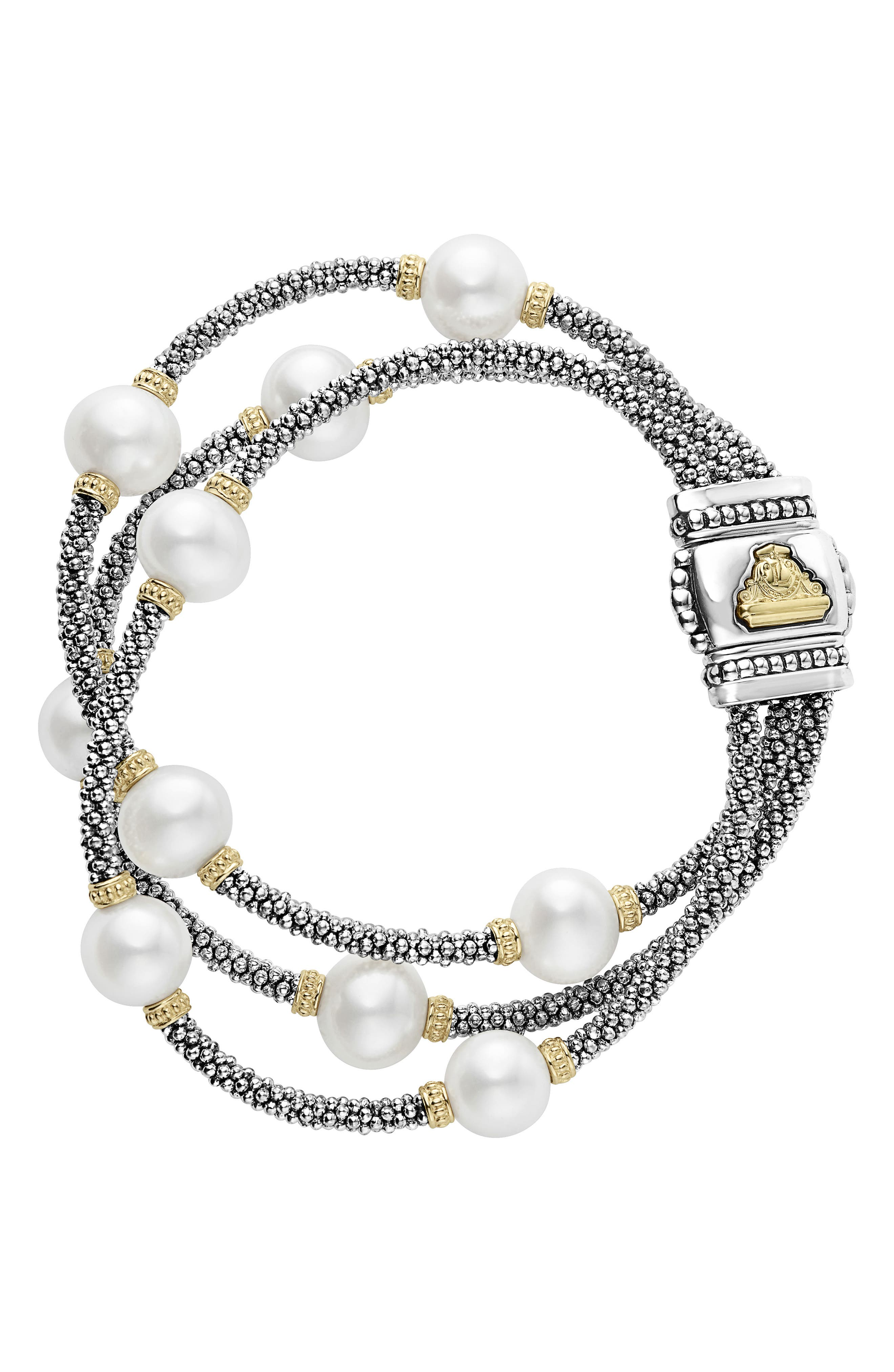 Luna Pearl Caviar Multistrand Bracelet,                         Main,                         color, Silver/ Pearl