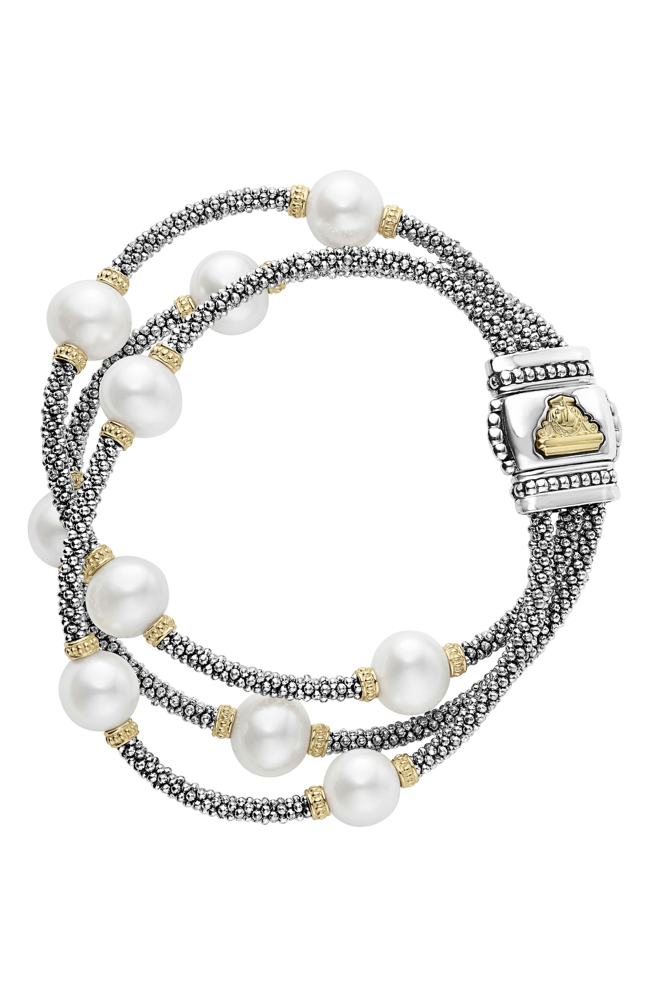 LAGOS Luna Pearl Caviar Multistrand Bracelet