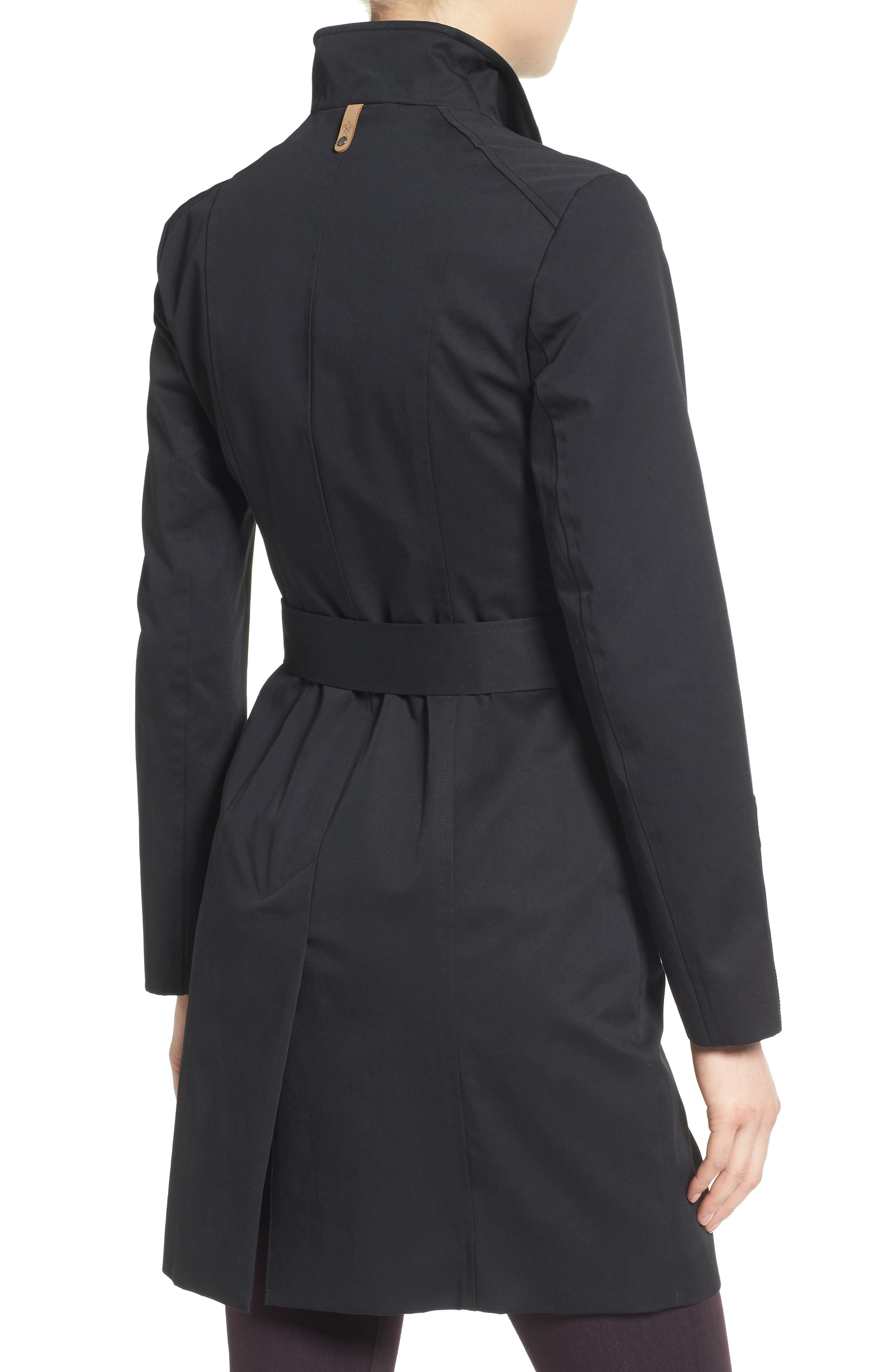 Estela Belted Long Trench Coat,                             Alternate thumbnail 2, color,                             Black