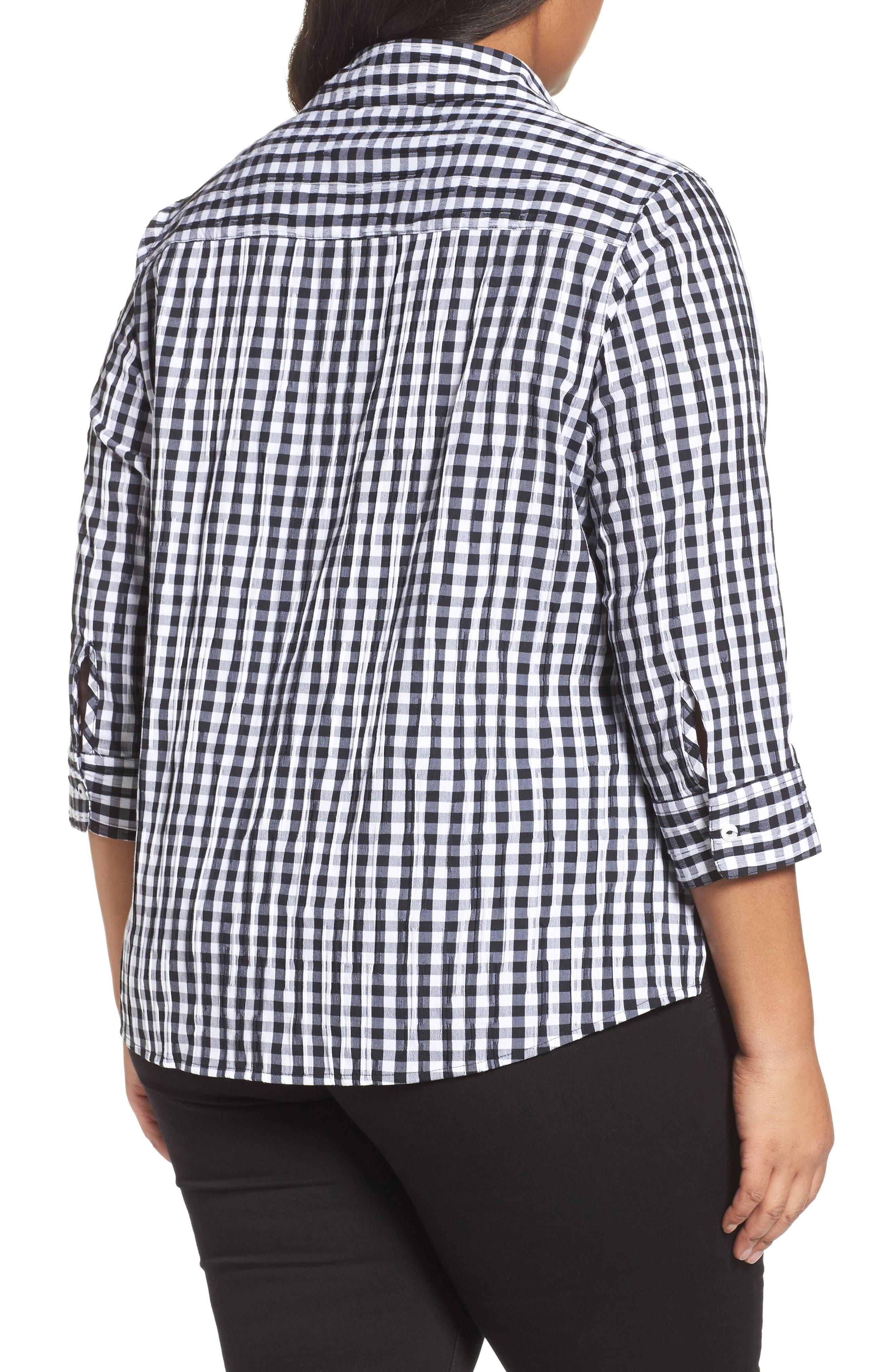 Alternate Image 2  - Foxcroft Gingham Shirt (Plus Size)