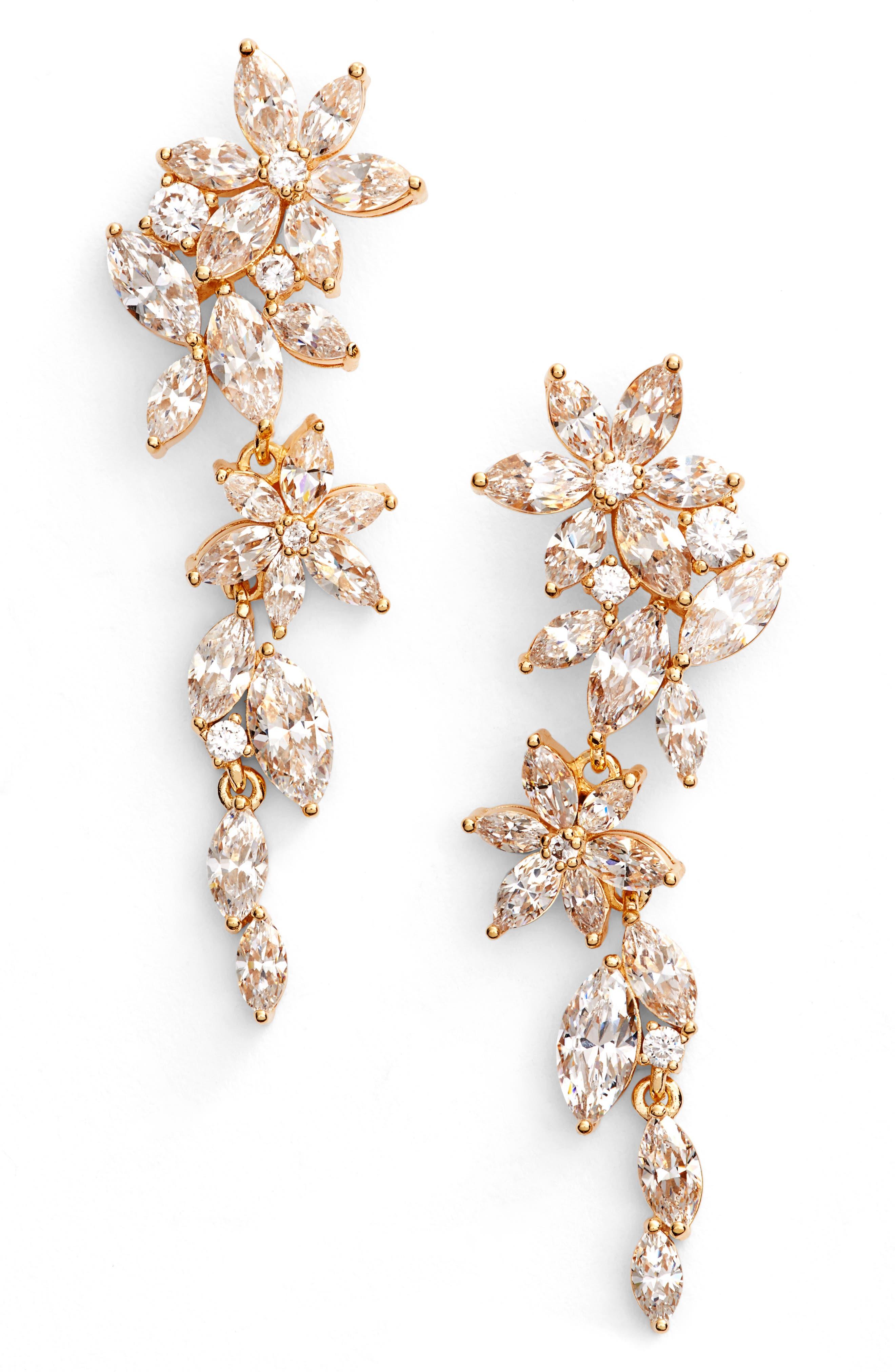 Flower Linear Drop Earrings,                             Main thumbnail 1, color,                             Gold