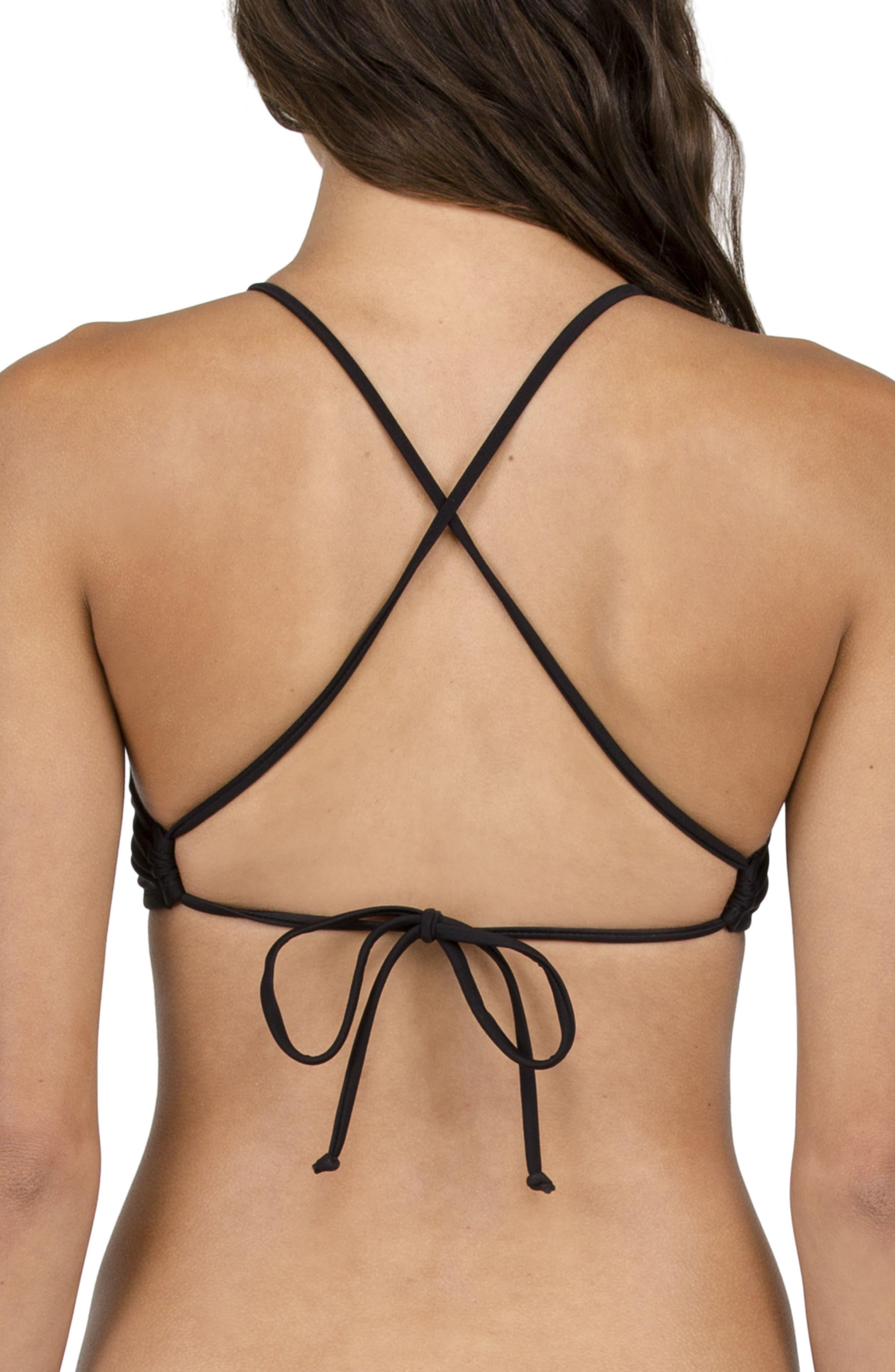 Crop Bikini Top,                             Alternate thumbnail 2, color,                             Black