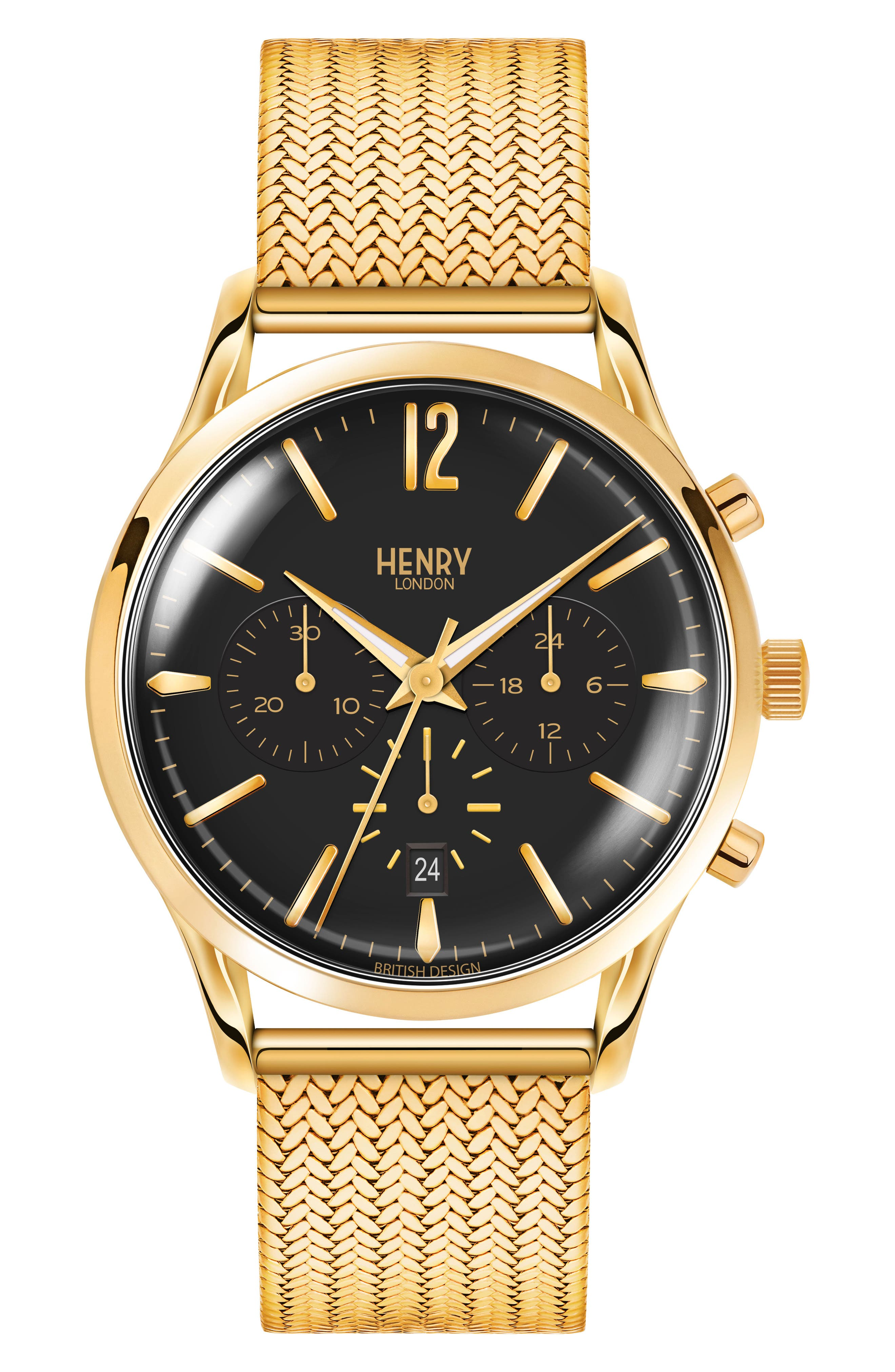 Westminster Chronograph Mesh Strap Watch, 41mm,                         Main,                         color, Gold/ Black