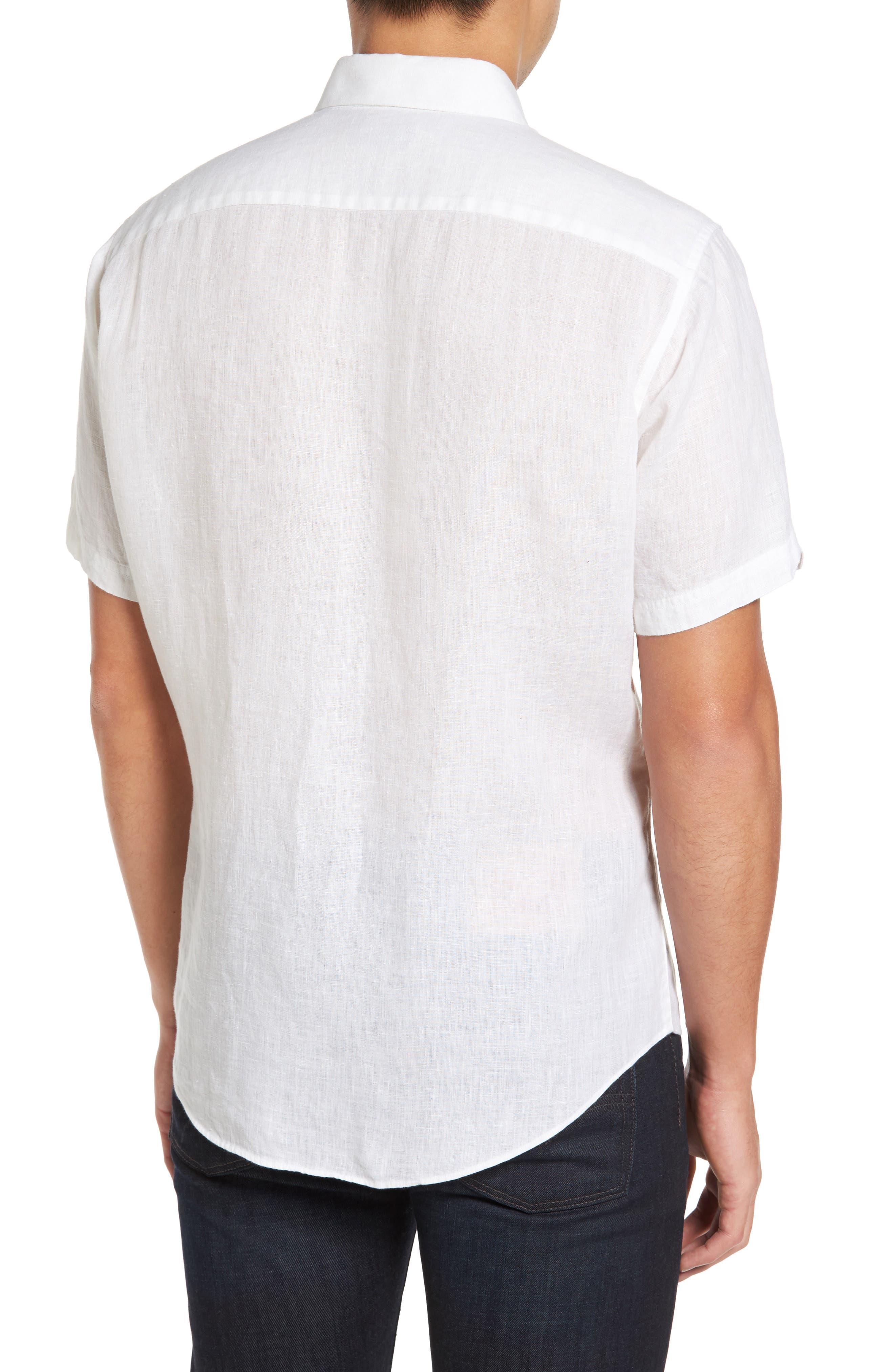 Kaplan Slim Fit Linen Sport Shirt,                             Alternate thumbnail 3, color,                             White