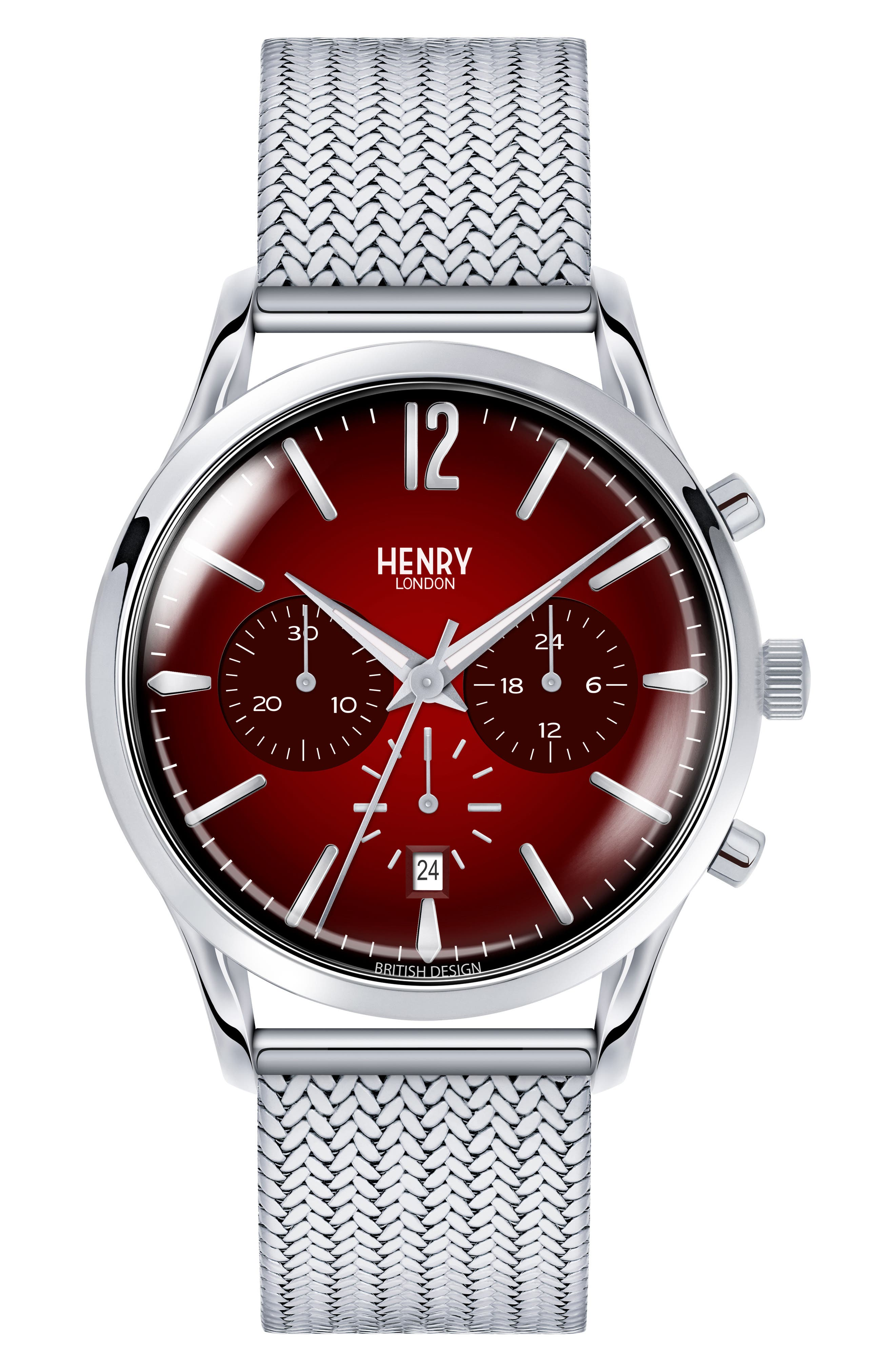 Chancery Chronological Mesh Strap Watch, 41mm,                         Main,                         color, Silver/ Red