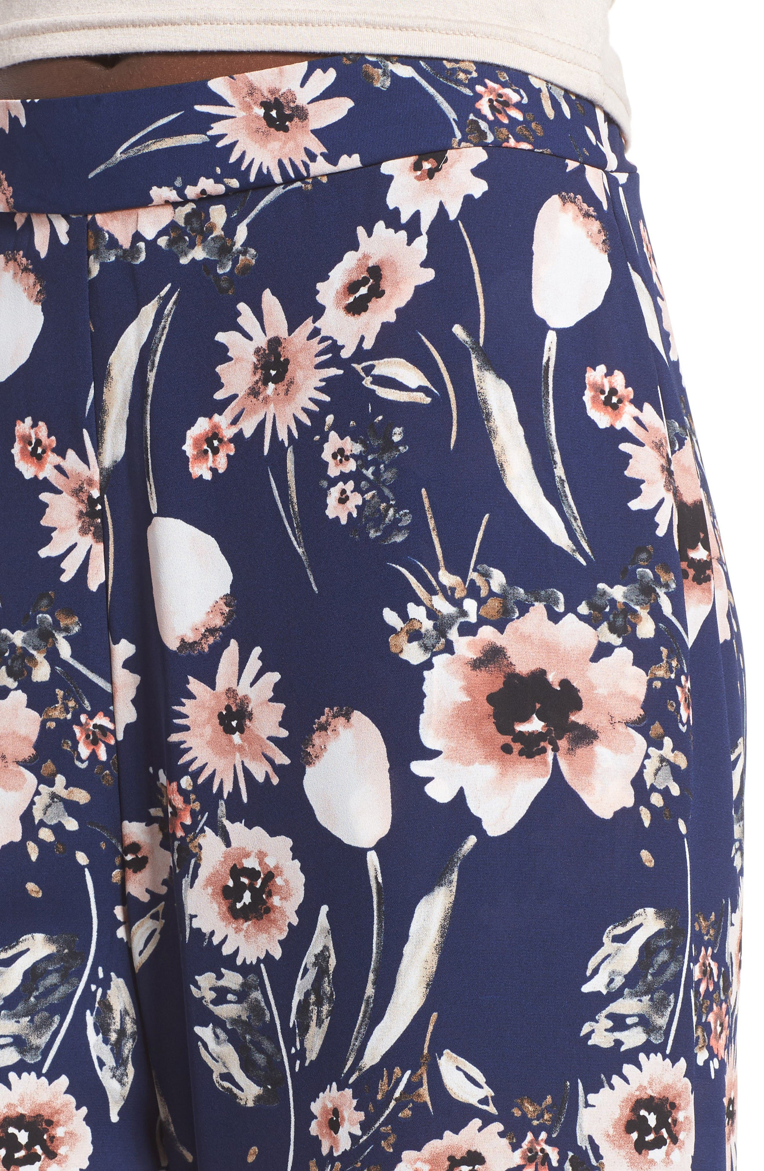 Wide Leg Pants,                             Alternate thumbnail 4, color,                             Navy Medieval Multi Floral