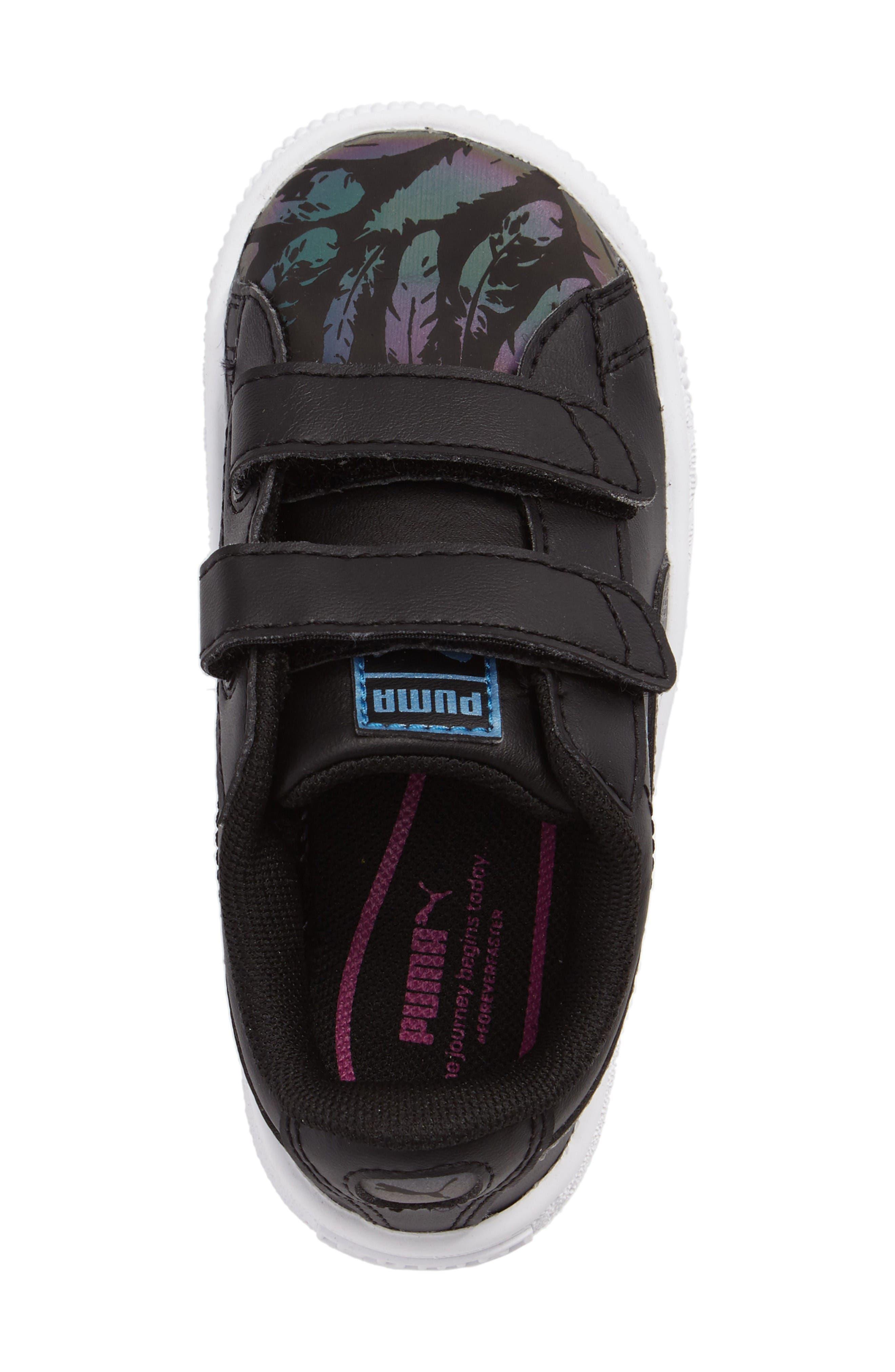 Basket Swan Feather Print Sneaker,                             Alternate thumbnail 3, color,                             Black
