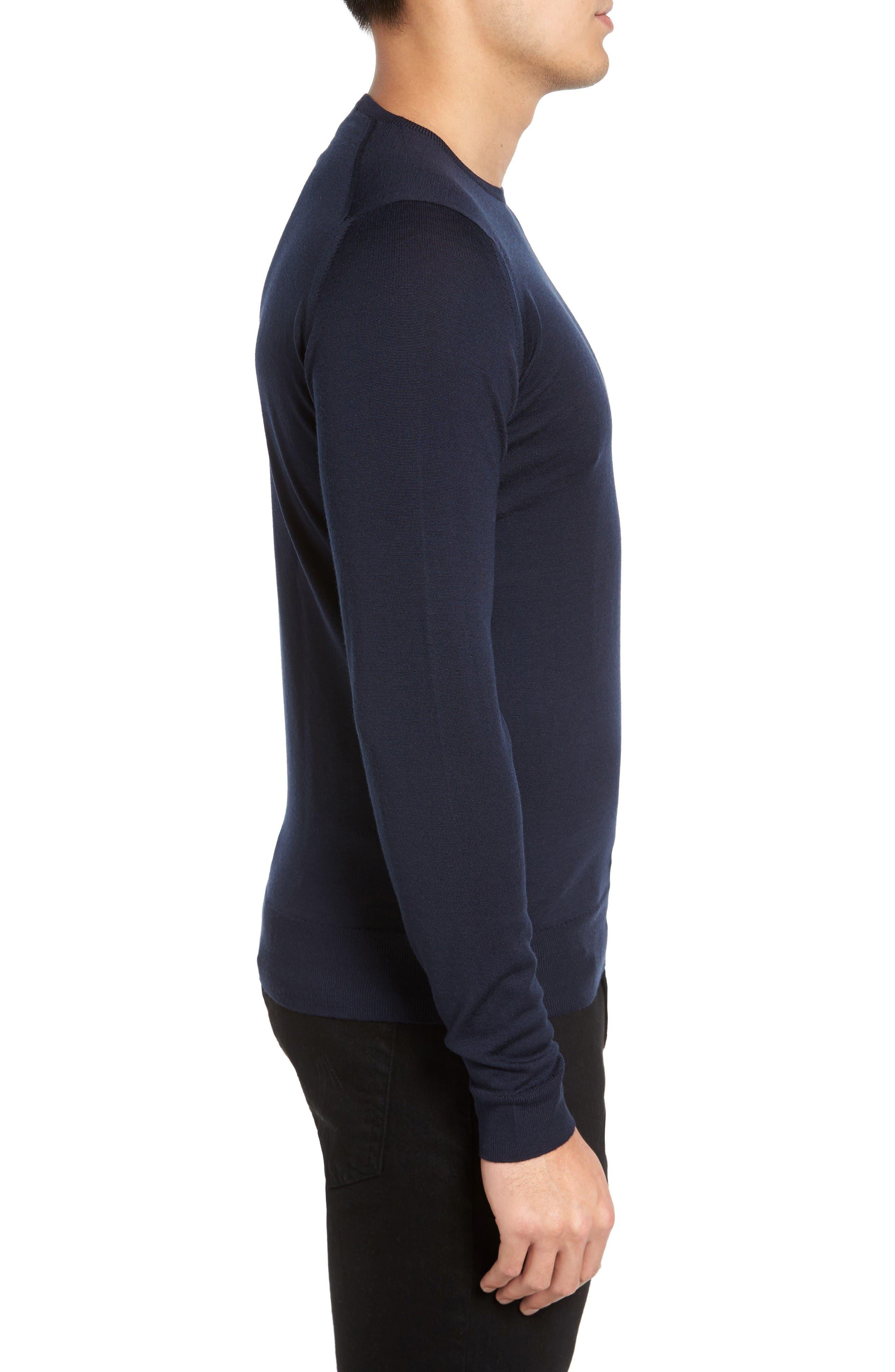 Merino Wool Sweater,                             Alternate thumbnail 3, color,                             Midnight