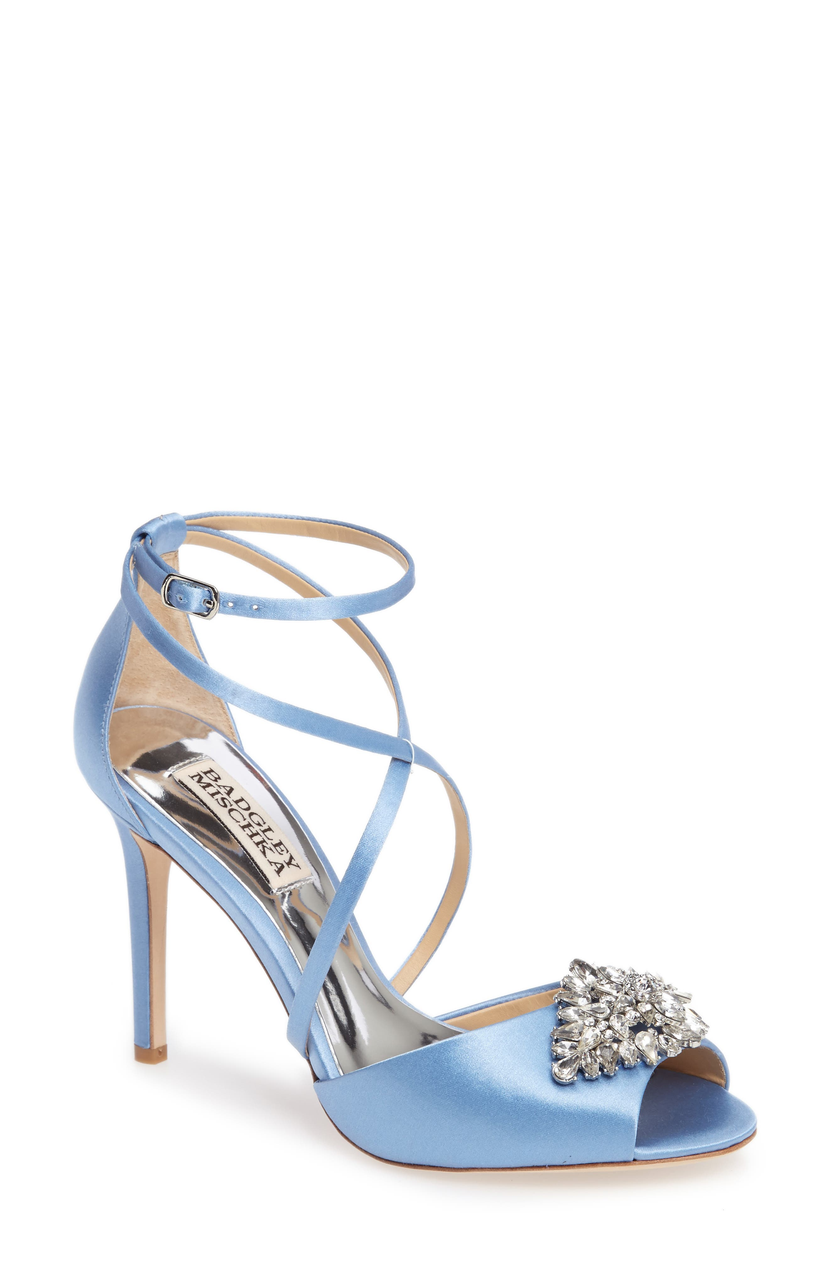 Tatum Embellished Strappy Sandal,                             Main thumbnail 1, color,                             Serenity Blue Satin
