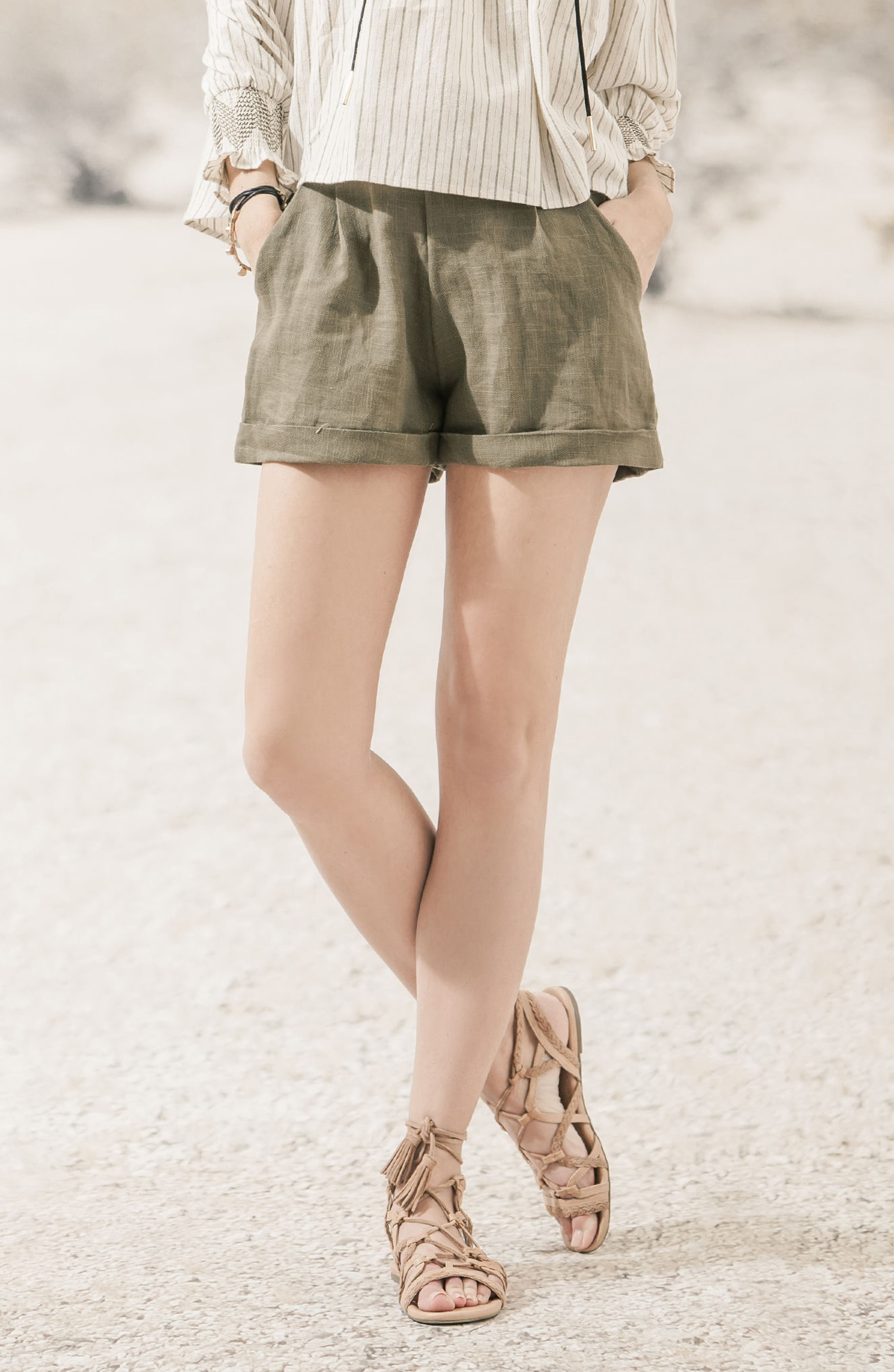 High Waist Linen & Cotton Shorts,                             Alternate thumbnail 2, color,                             Olive