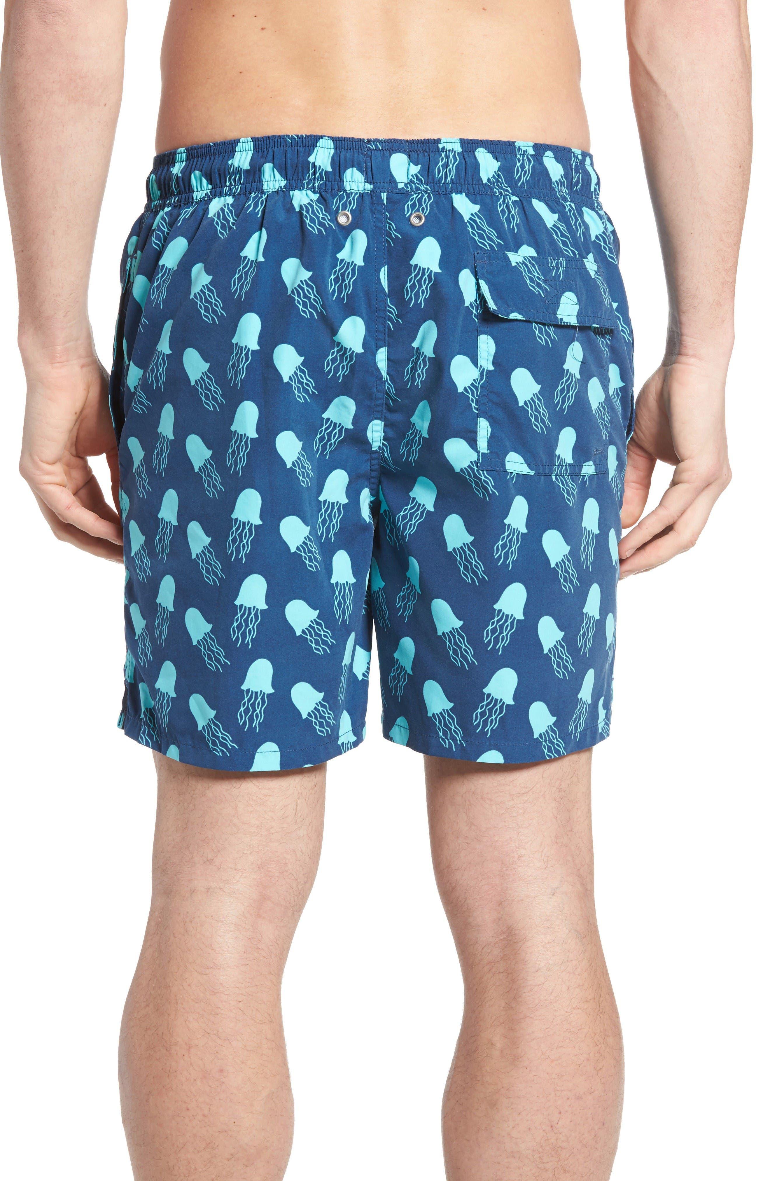 Jellyfish Print Swim Trunks,                             Alternate thumbnail 2, color,                             Navy Turquoise