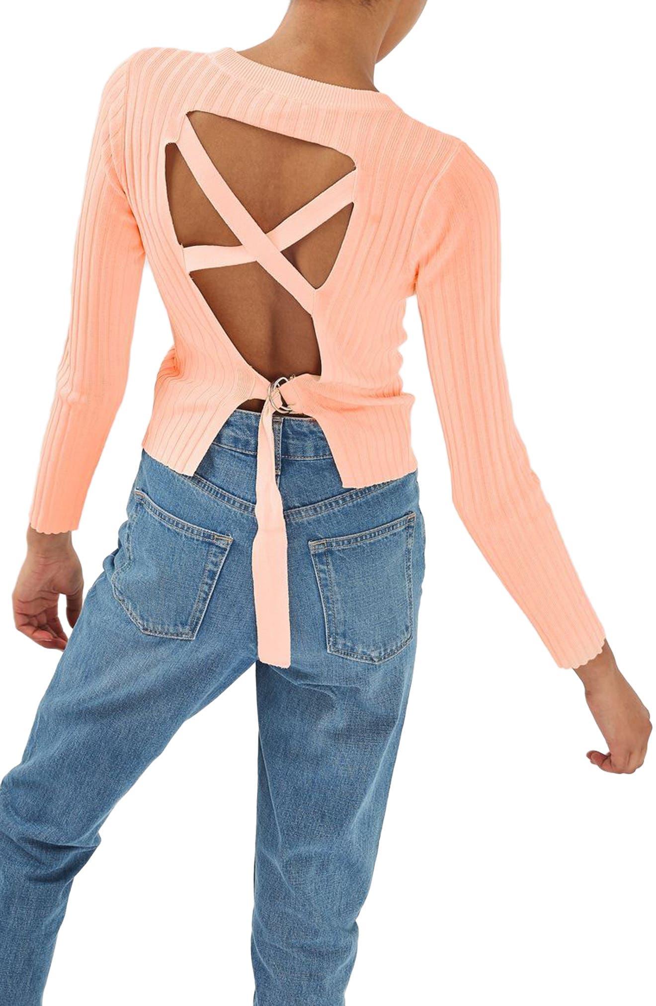 Alternate Image 1 Selected - Topshop Strap Back Sweater
