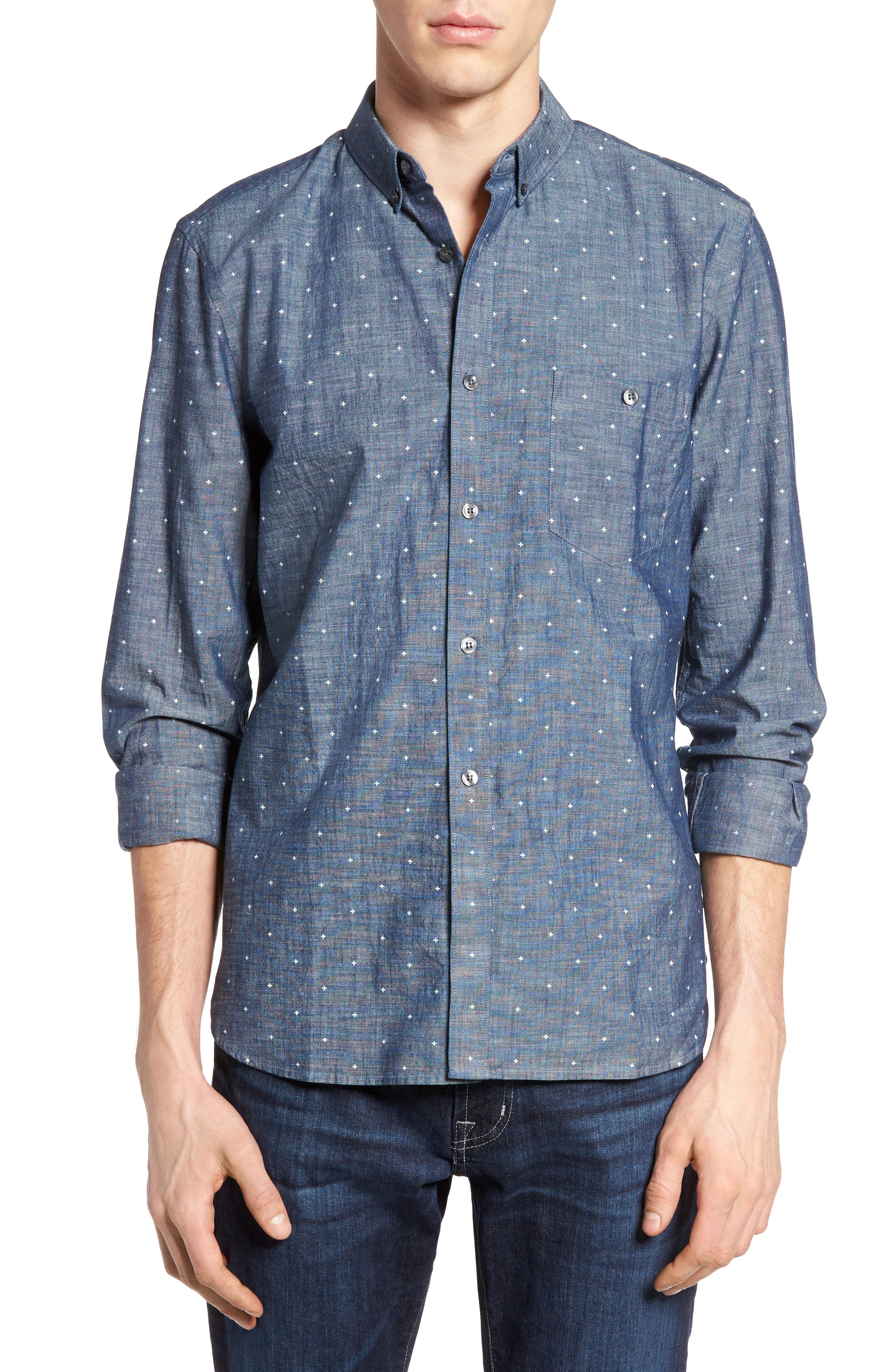 Alternate Image 1 Selected - French Connection Print Slub Chambray Shirt