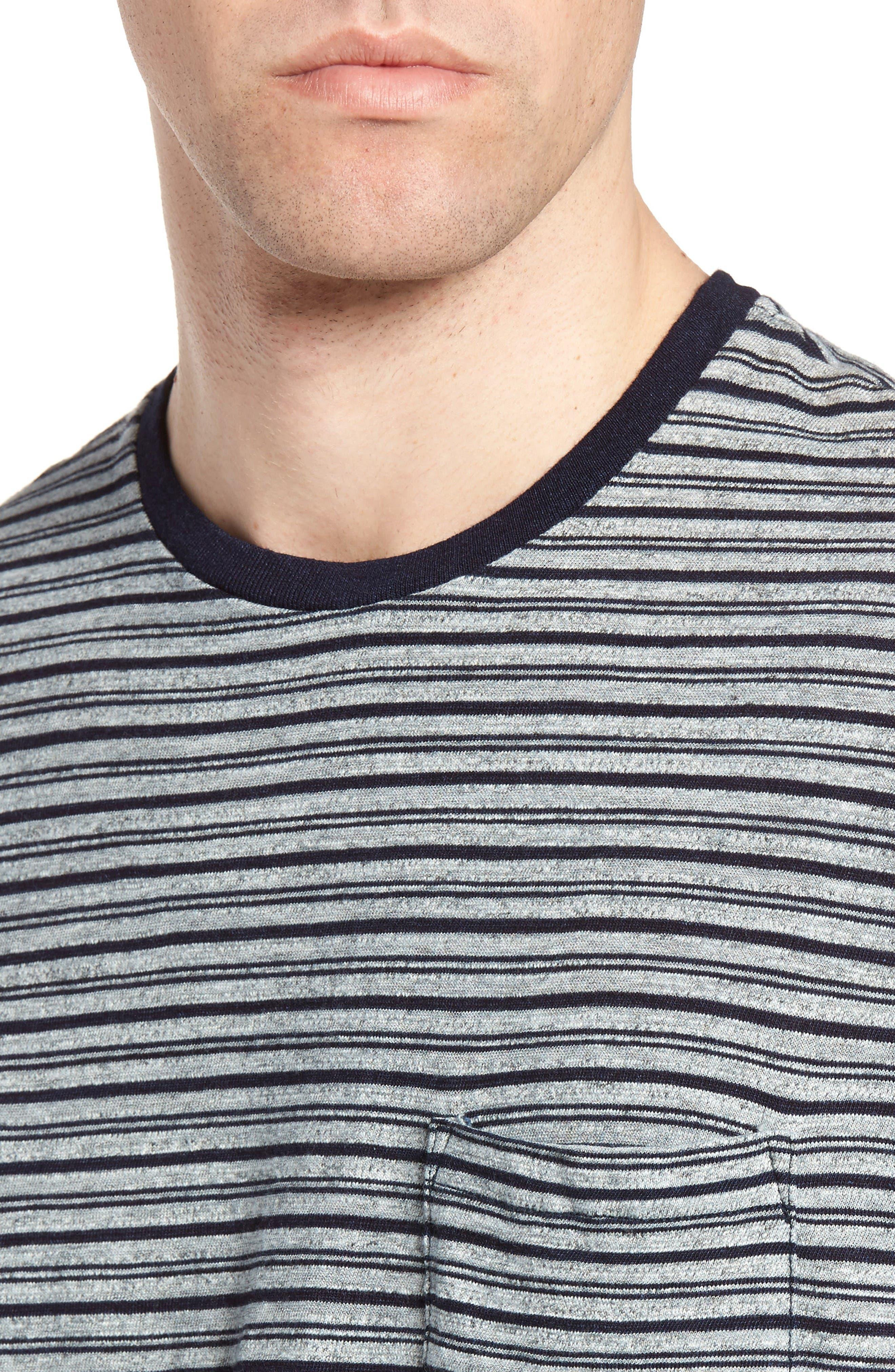 Stripe Ringer T-Shirt,                             Alternate thumbnail 4, color,                             Indigo