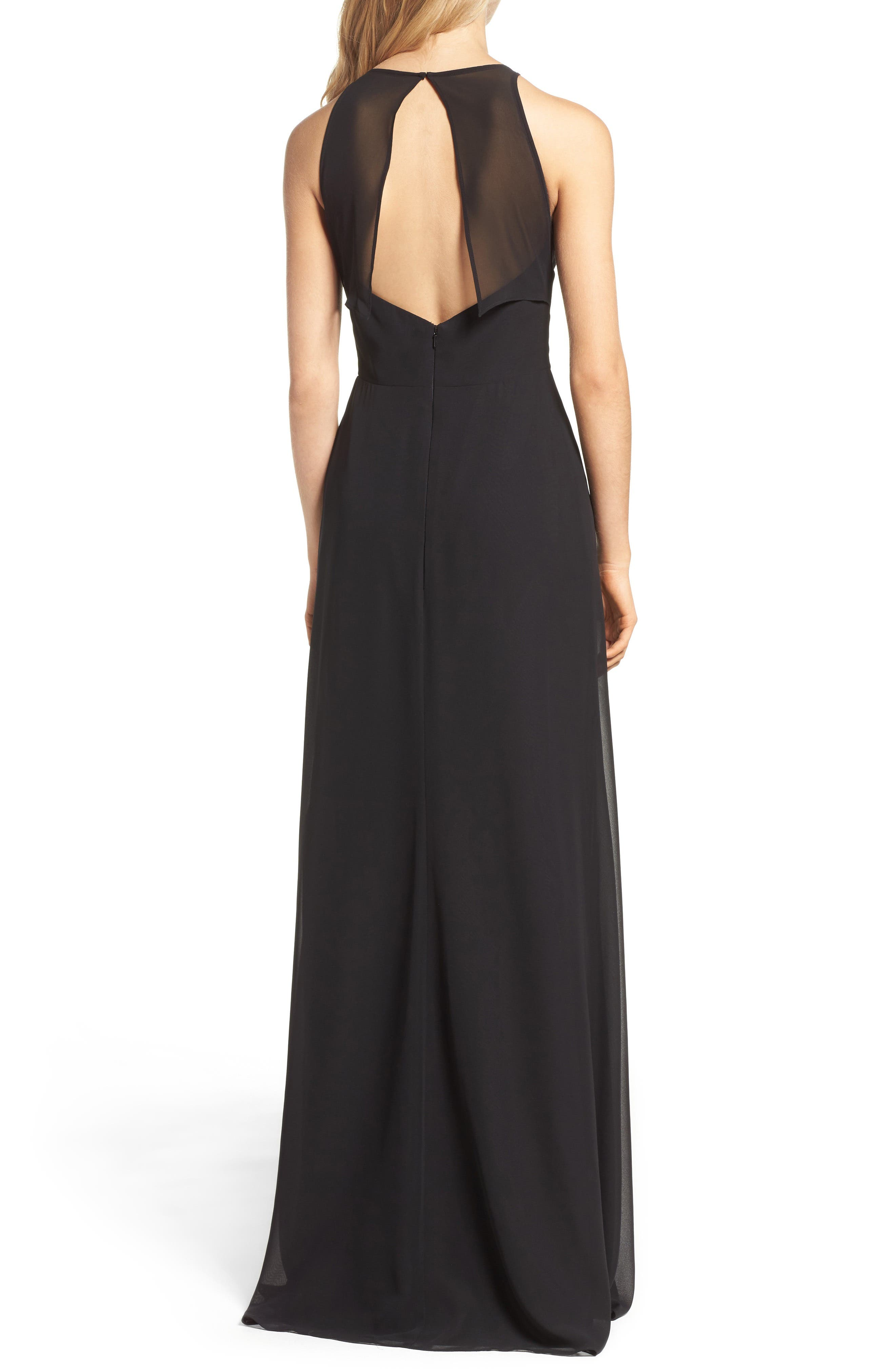 Alternate Image 2  - Hayley Paige Occasions Crewneck Chiffon Gown
