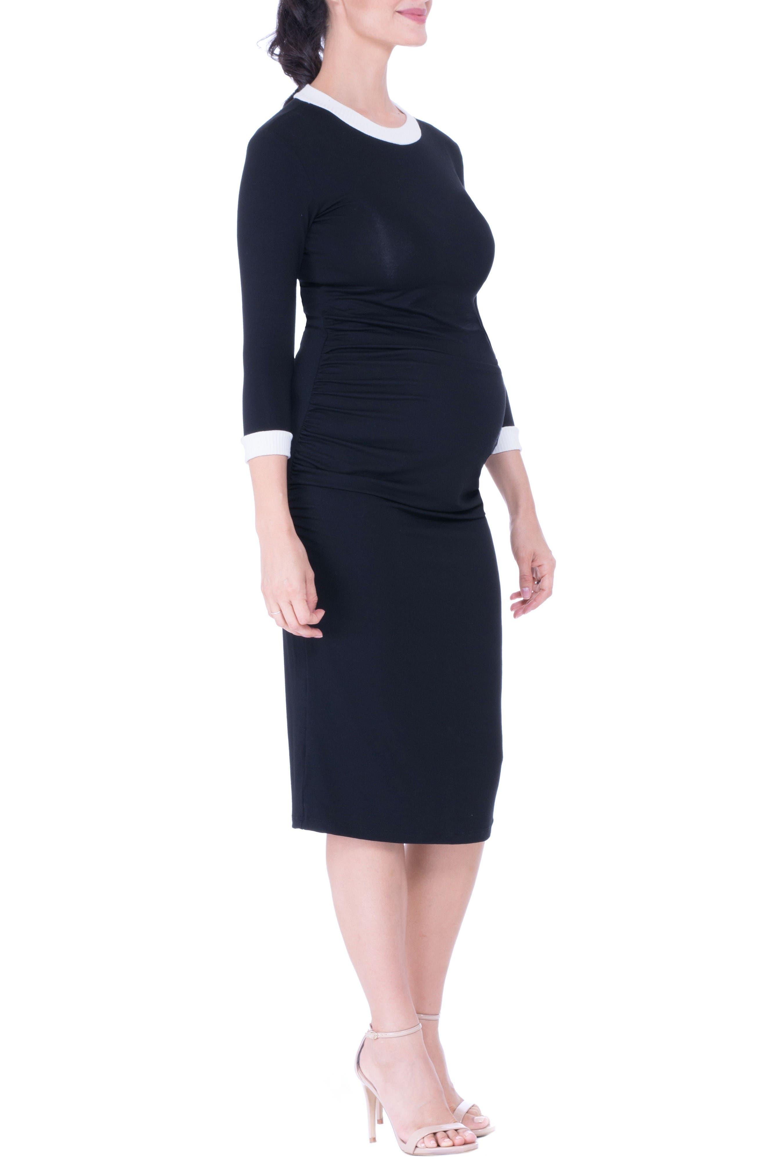 Maternity Midi Dress,                             Alternate thumbnail 2, color,                             Black