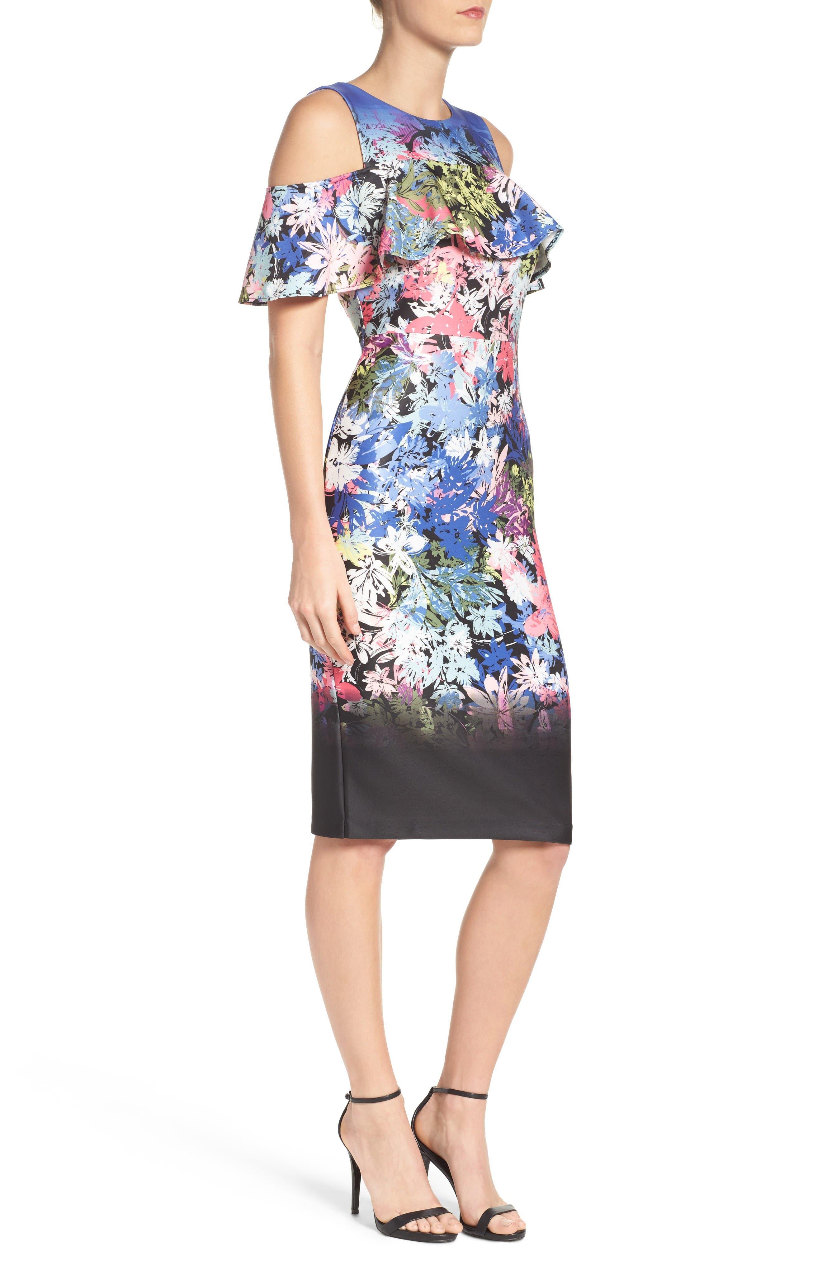 Cold Shoulder Sheath Dress,                             Alternate thumbnail 3, color,                             Black/ Multi