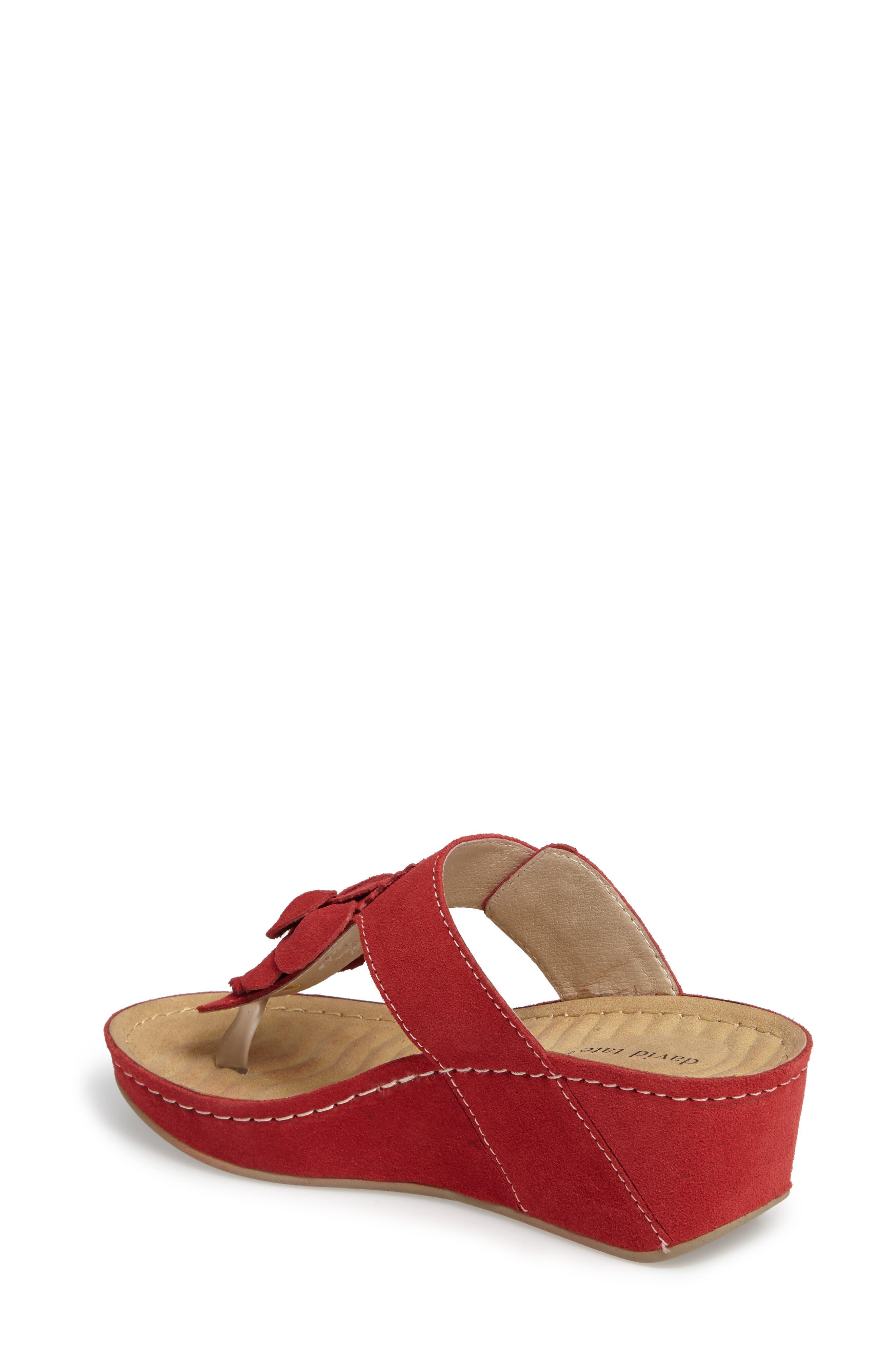 Spring Platform Wedge Sandal,                             Alternate thumbnail 2, color,                             Red Suede