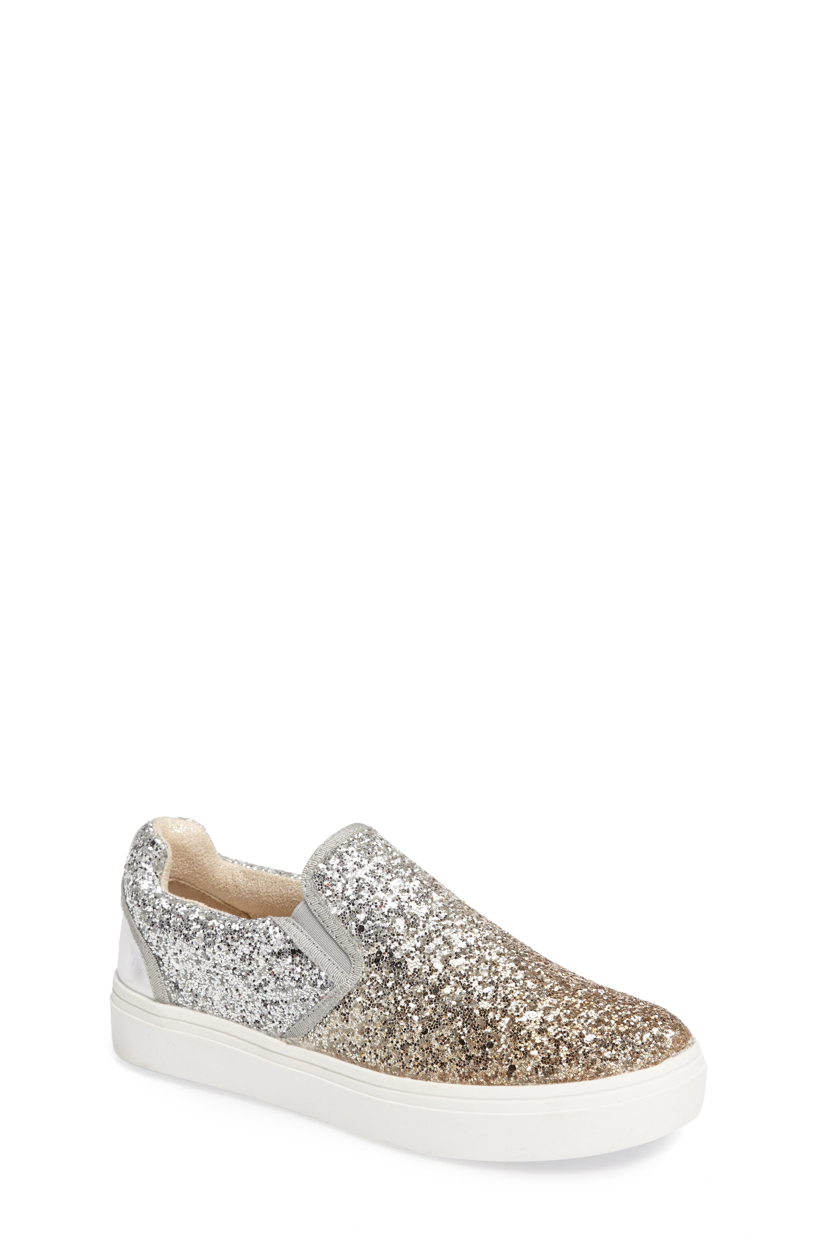 Double Marcia Glitter Platform Sneaker,                             Main thumbnail 1, color,                             Silver/ Gold