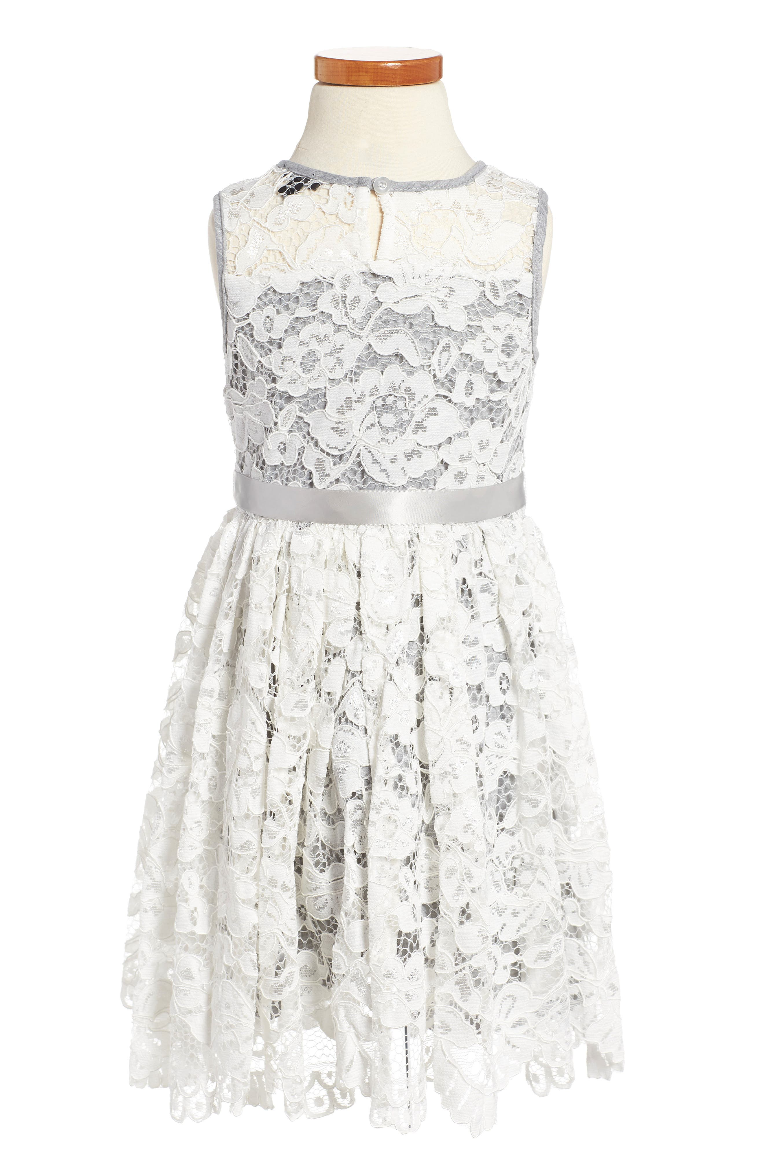 Scalloped Floral Lace Dress,                             Alternate thumbnail 2, color,                             Ivory/ Grey