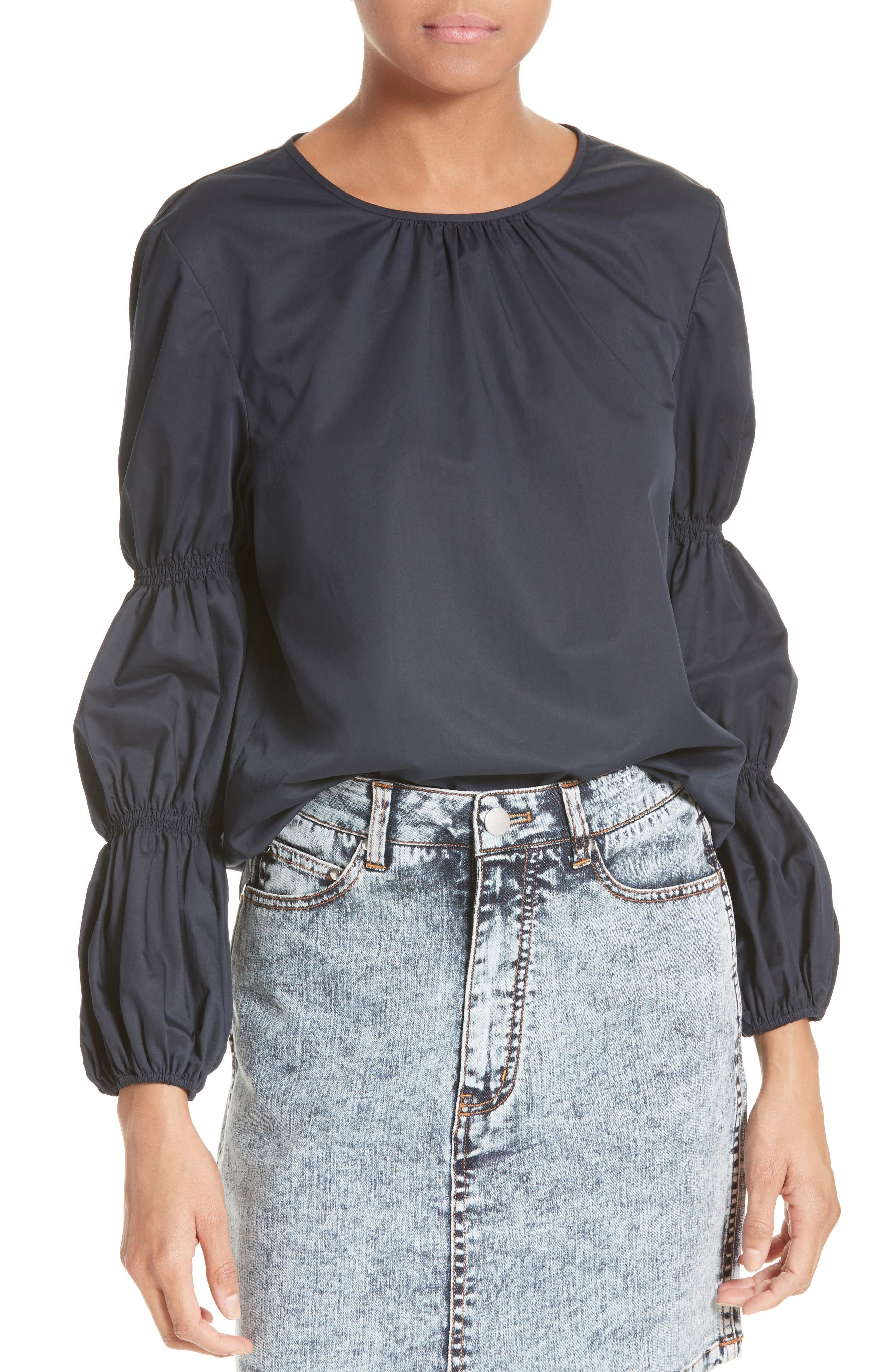 Alternate Image 1 Selected - Tibi Satin Poplin Smocked Sleeve Top