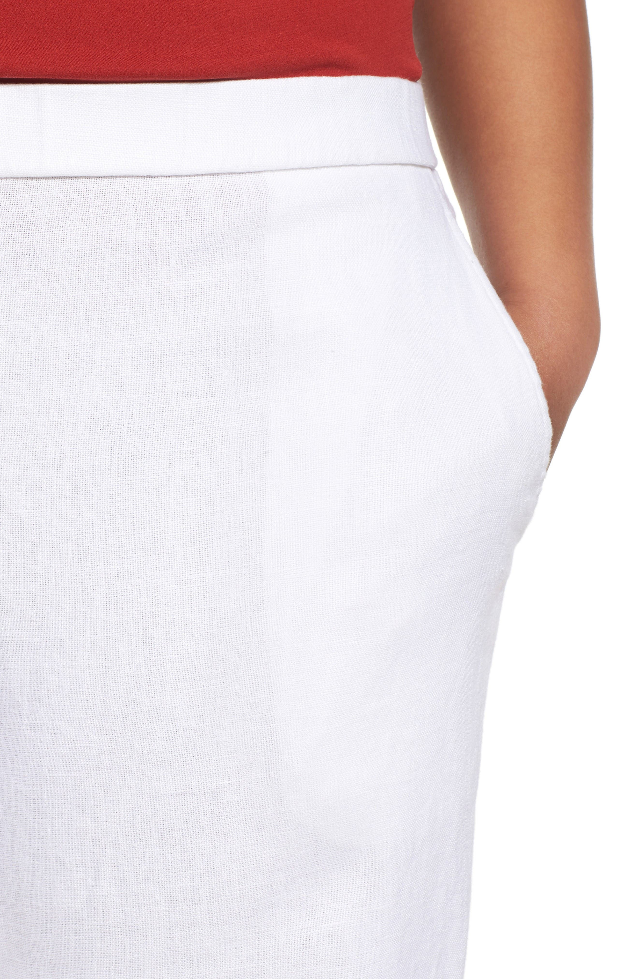 Alternate Image 4  - Eileen Fisher Organic Linen Wide Leg Crop Pants (Plus Size)