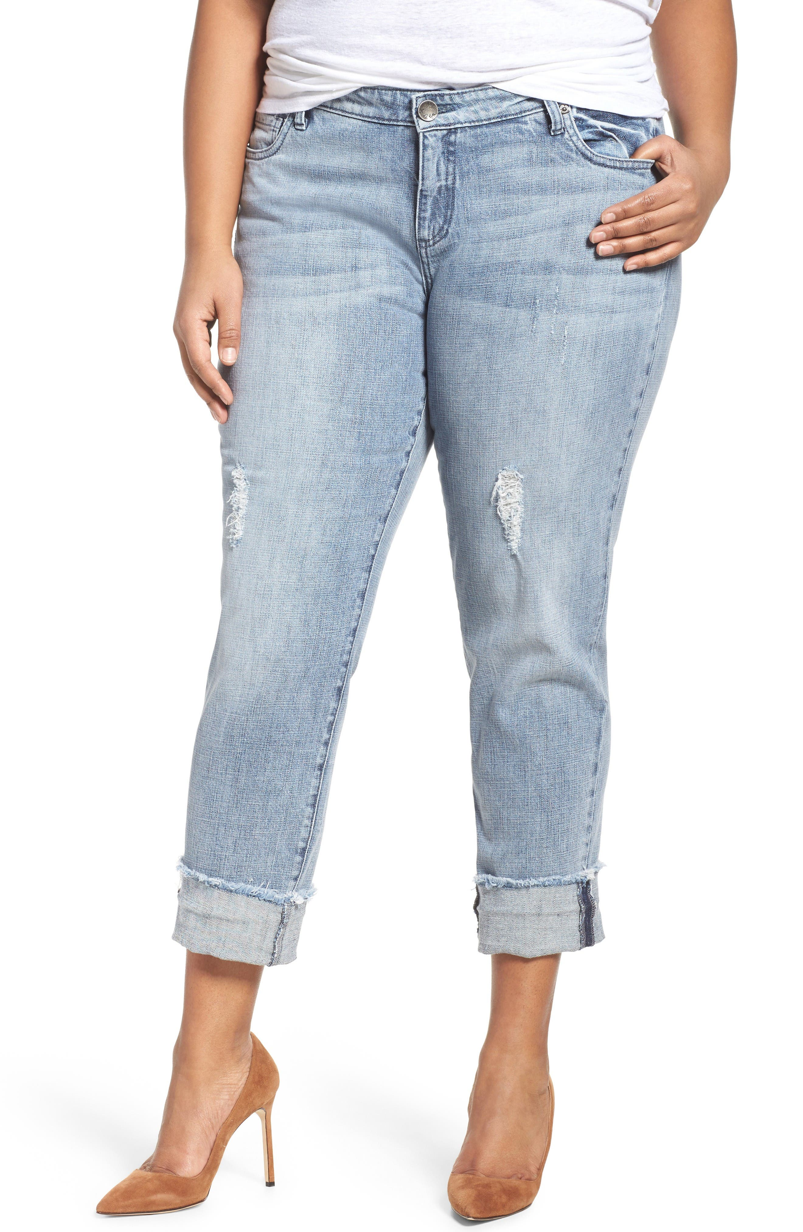 Alternate Image 1 Selected - KUT from the Kloth Catherine Fray Hem Distressed Boyfriend Jeans (Plus Size)
