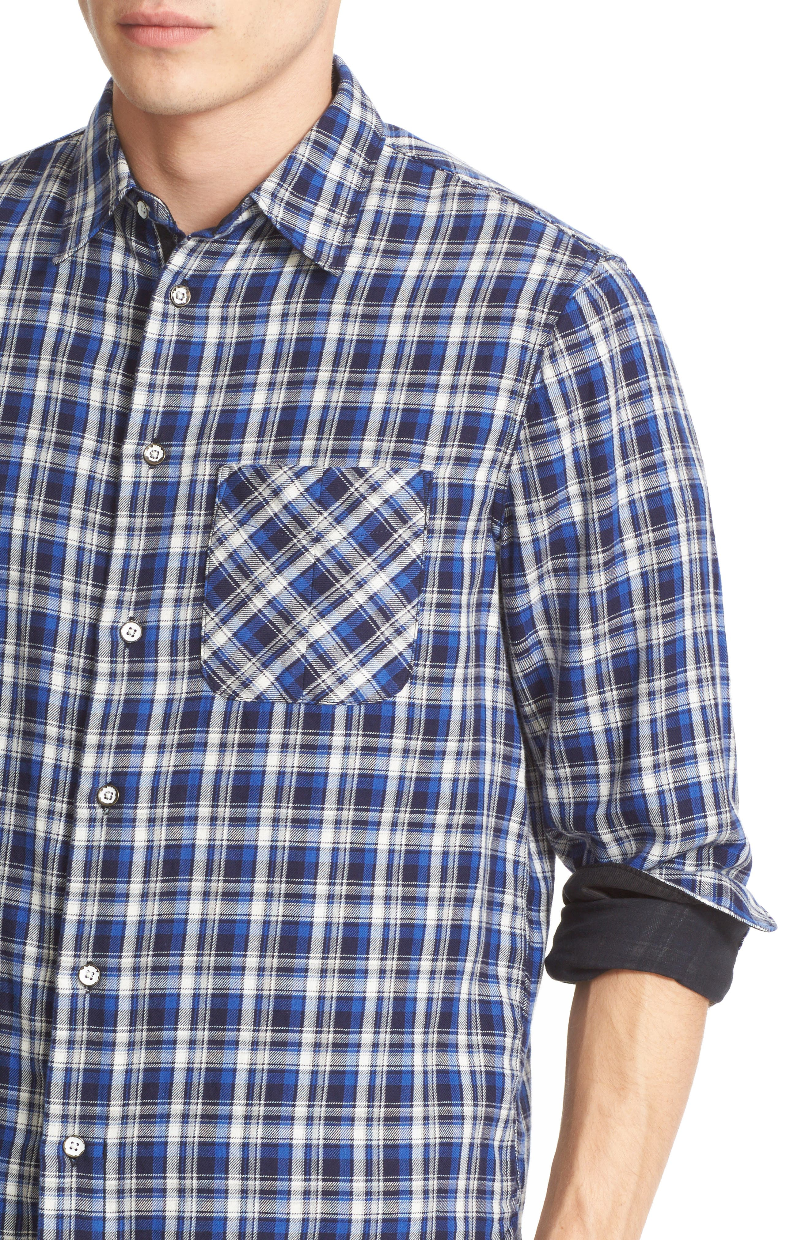 Plaid Beach Trim Fit Double Face Sport Shirt Outlet Recommend Buy Cheap 100% Authentic Get To Buy For Sale Real Sale Online Factory Outlet Cheap Price ck38BwY3Dv