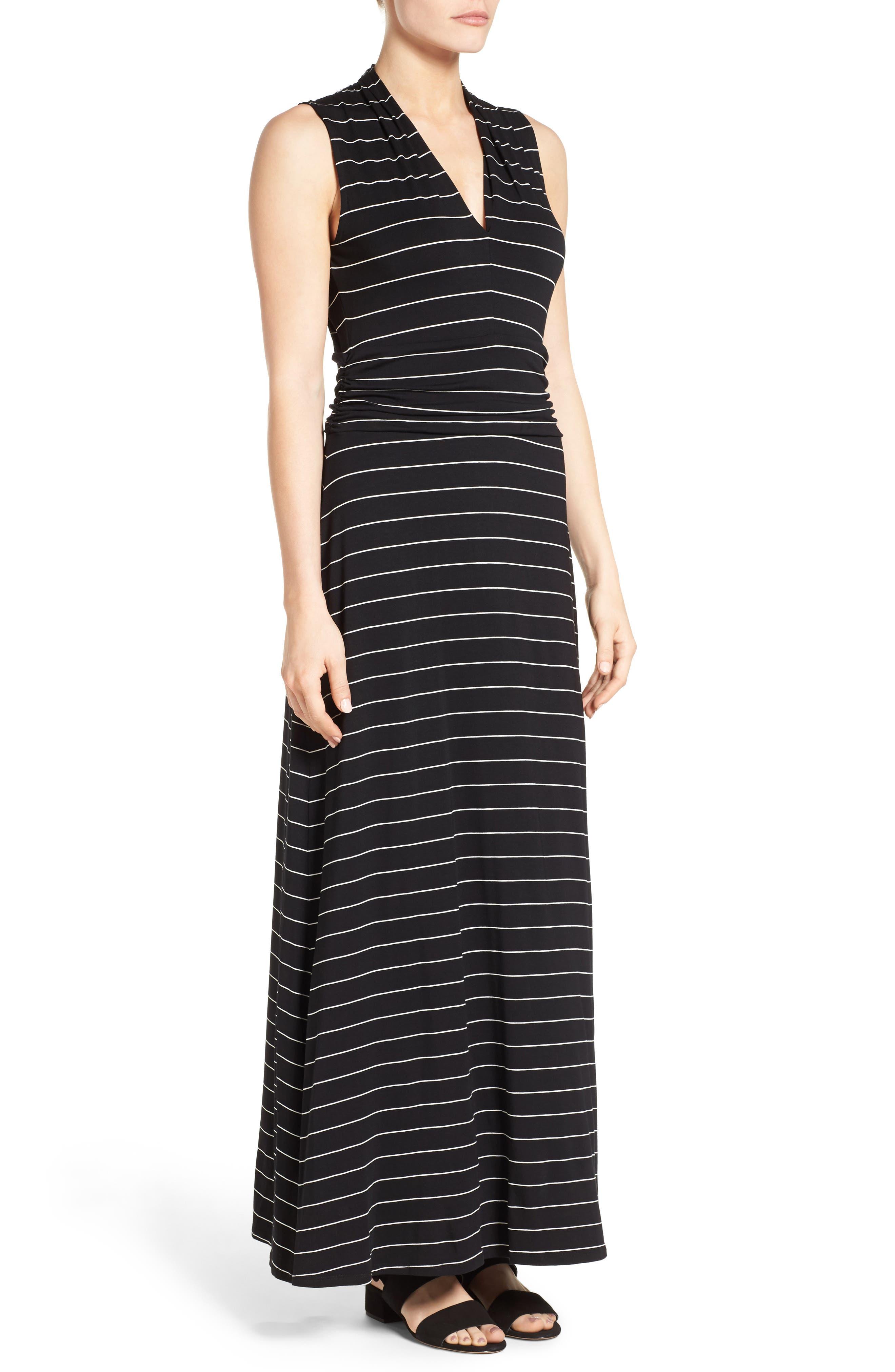 Stripe Maxi Dress,                             Alternate thumbnail 3, color,                             Rich Black