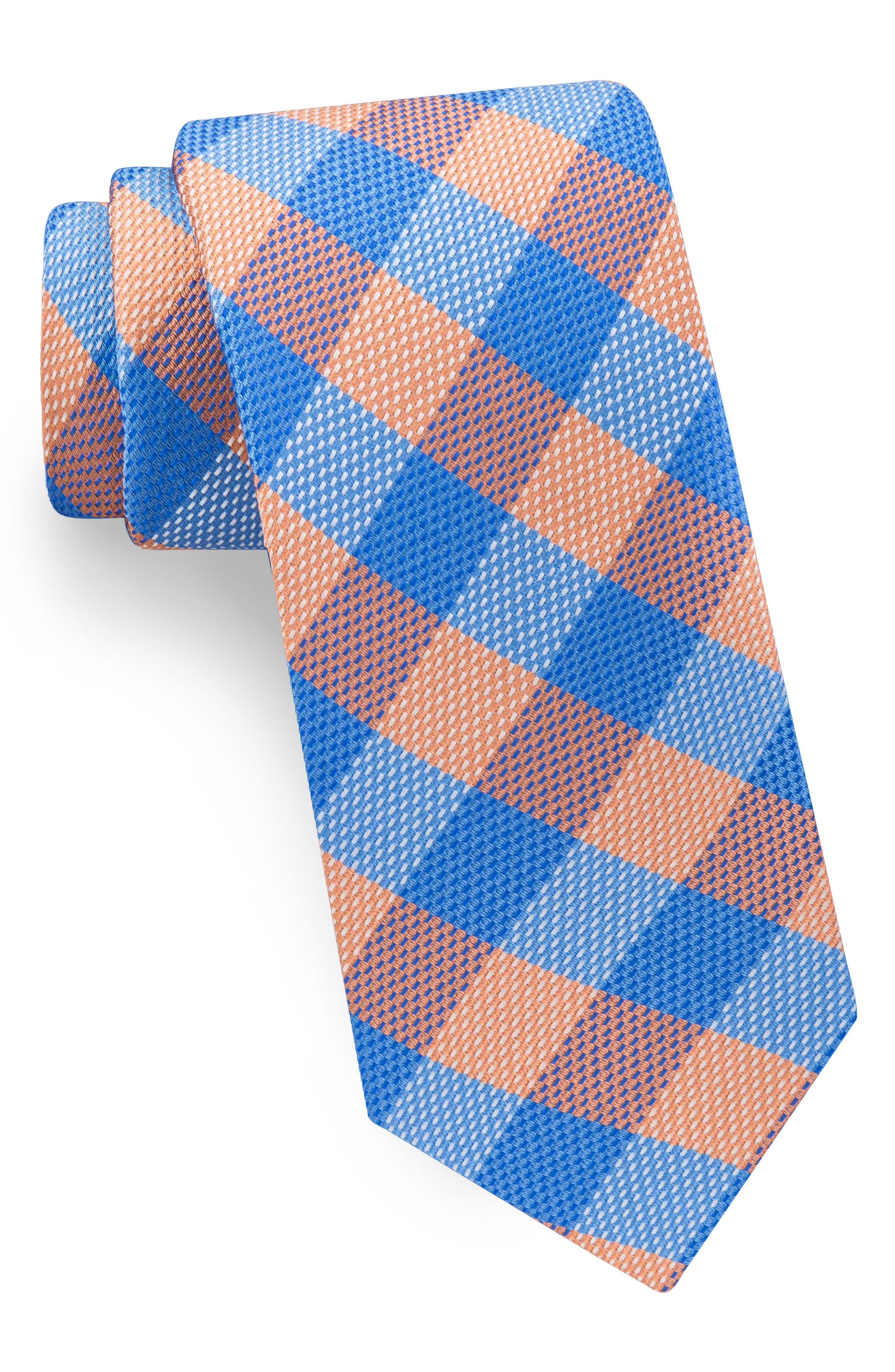 Derby Check Silk Tie,                         Main,                         color, Orange/ Blue