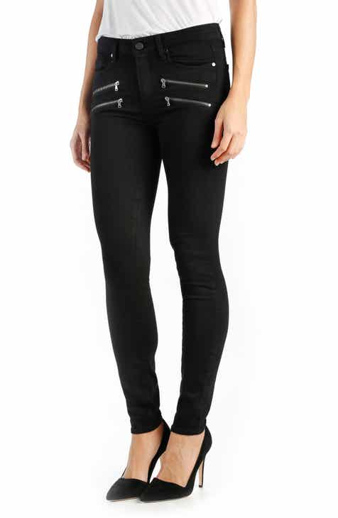 PAIGE Transcend - Edgemont High Rise Ultra Skinny Jeans (Black Shadow) by PAIGE