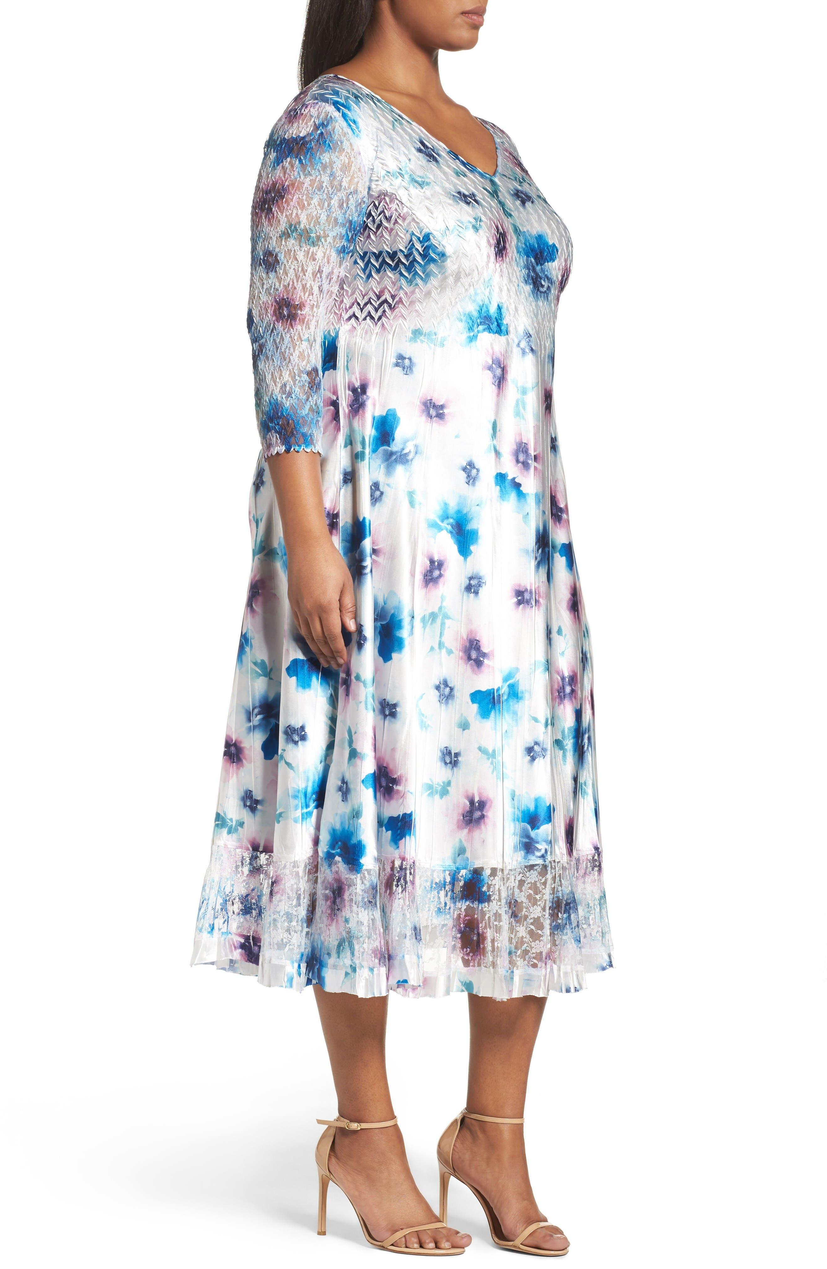 Floral Charmeuse & Chiffon A-Line Dress,                             Alternate thumbnail 3, color,                             Meadow Mist