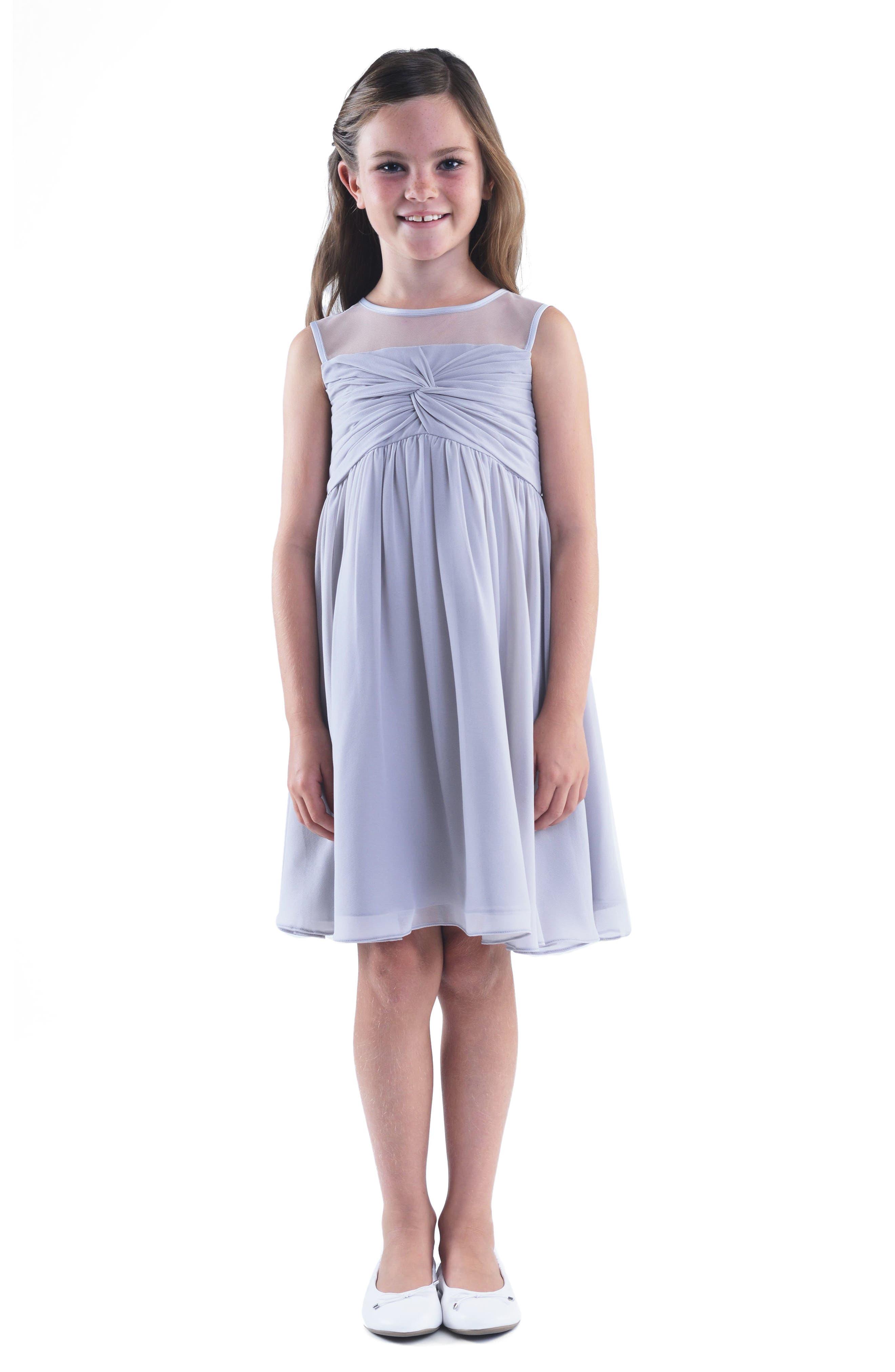 Illusion Neckline Dress,                             Main thumbnail 1, color,                             Silver
