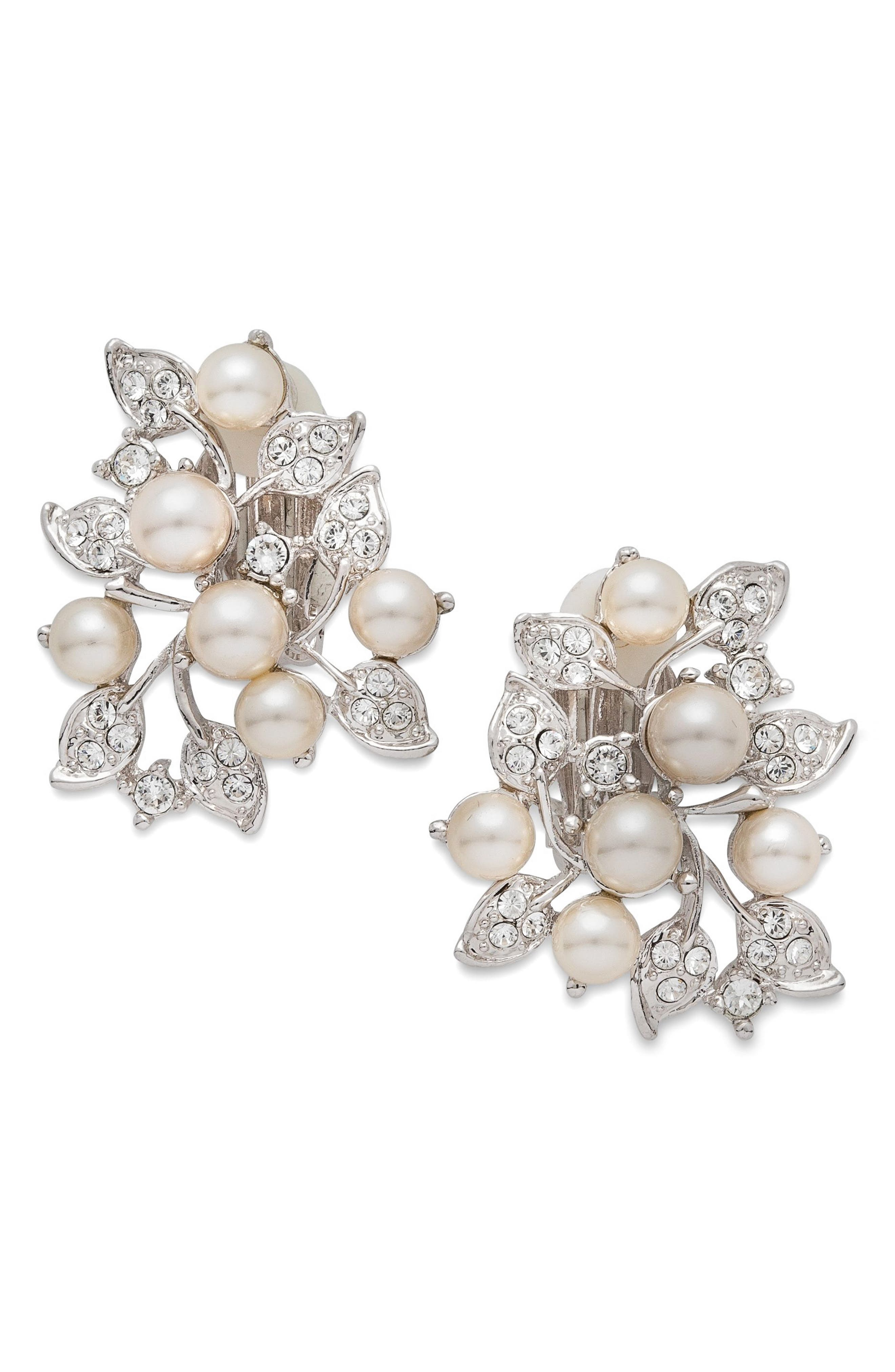 Alternate Image 1 Selected - Nina Imitation Pearl & Crystal Clip Earrings