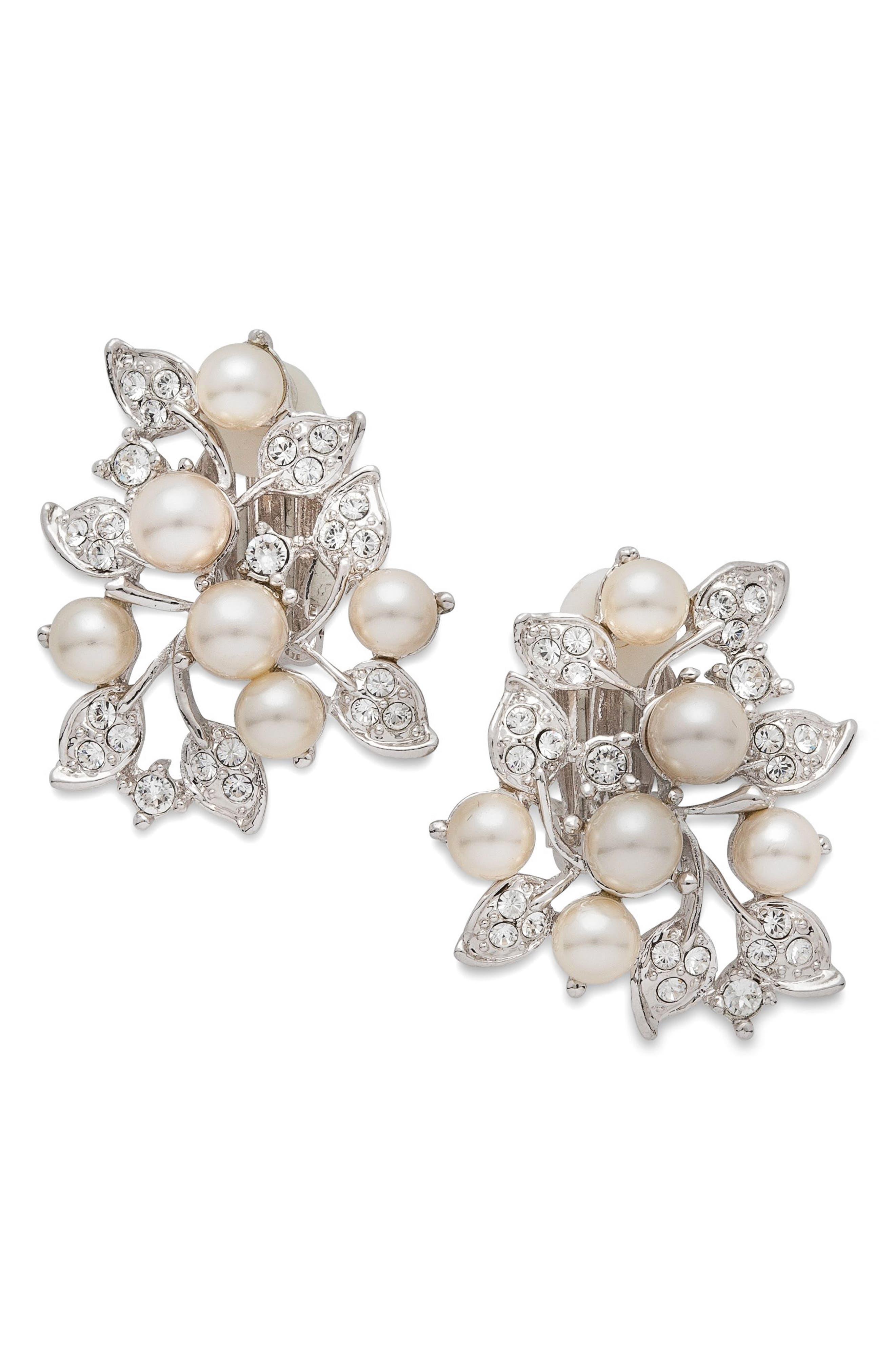Imitation Pearl & Crystal Clip Earrings,                             Main thumbnail 1, color,                             Pearl