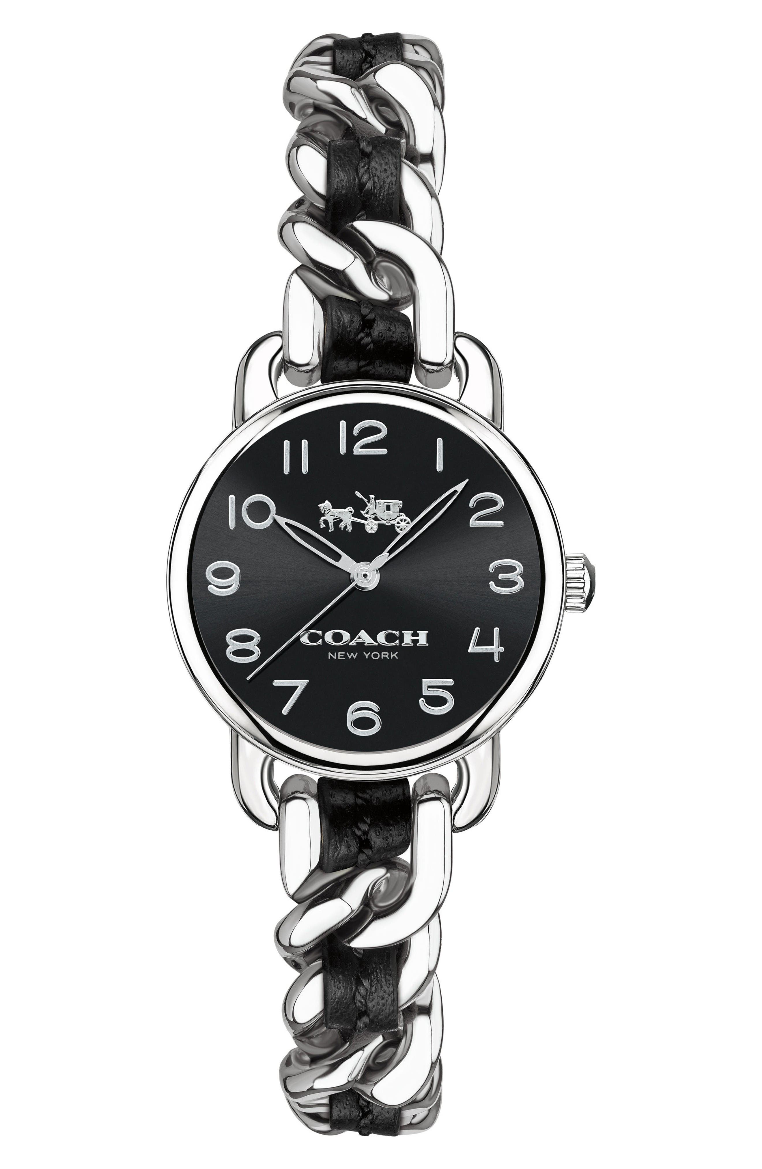 Delancey Leather Chain Watch, 23mm,                         Main,                         color, Black/ Silver