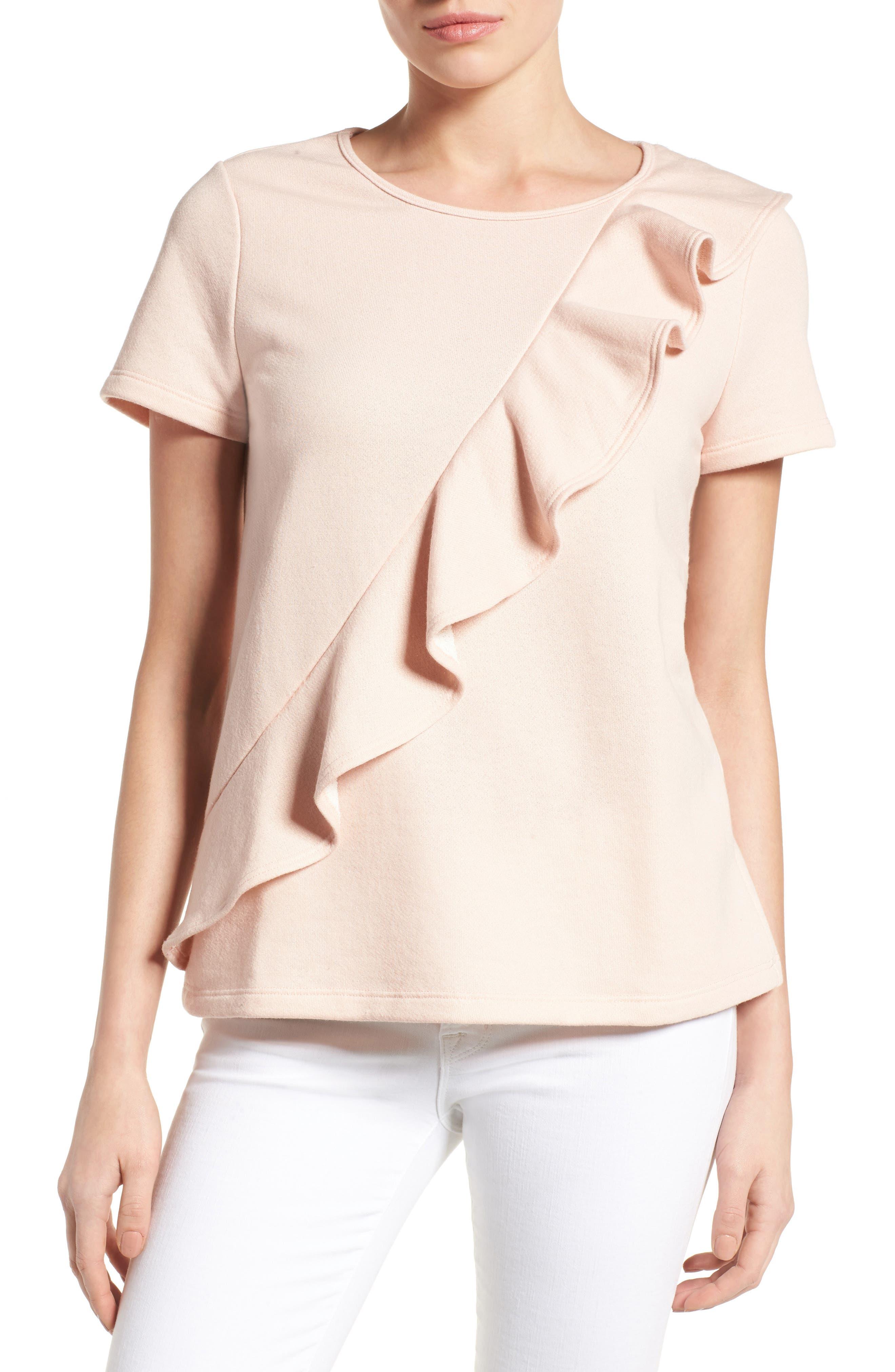 Alternate Image 1 Selected - Pleione Asymmetrical Ruffle Sweatshirt (Regular & Petite)