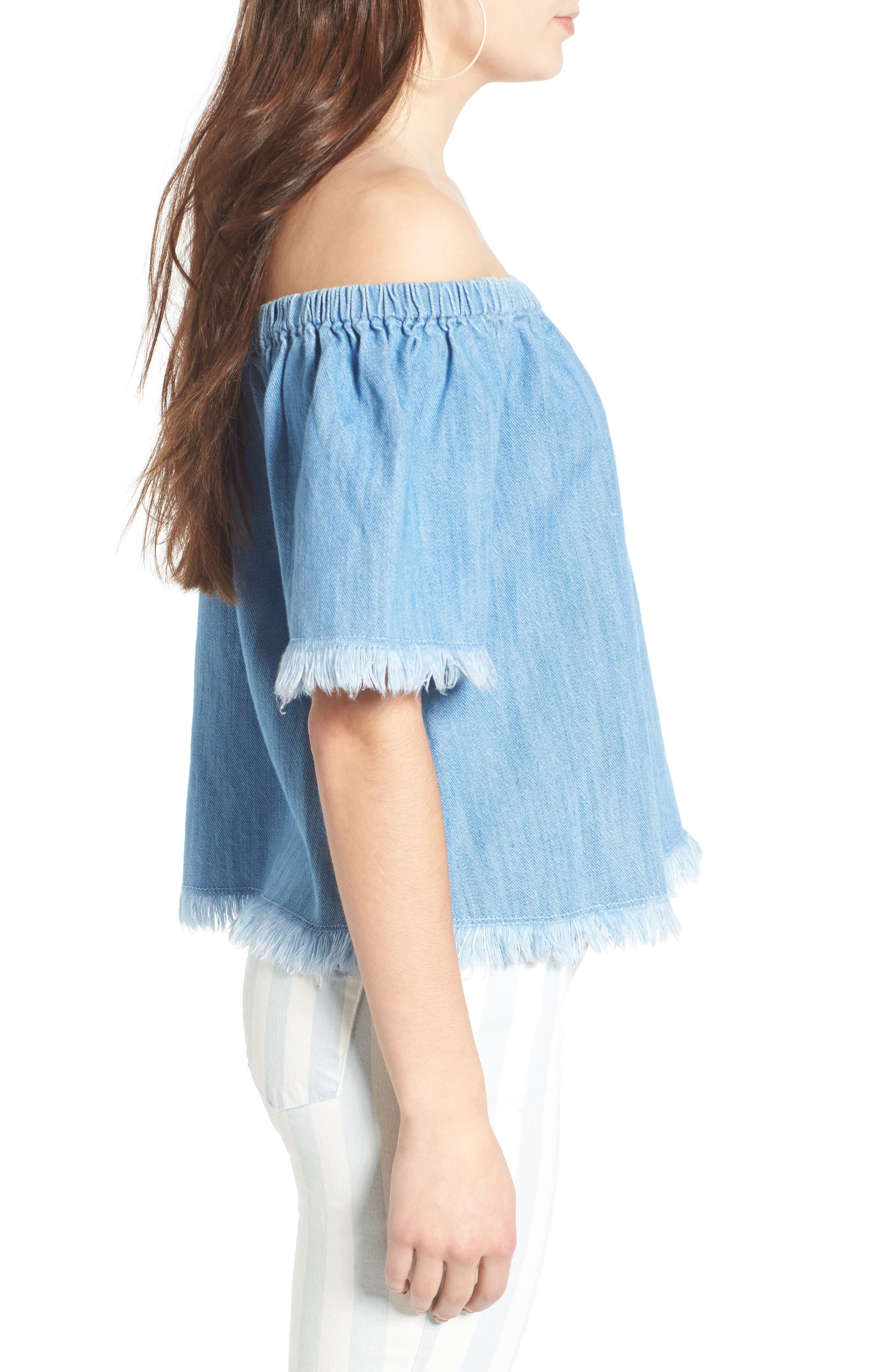 Frayed Denim Off the Shoulder Top,                             Alternate thumbnail 3, color,                             Light Wash