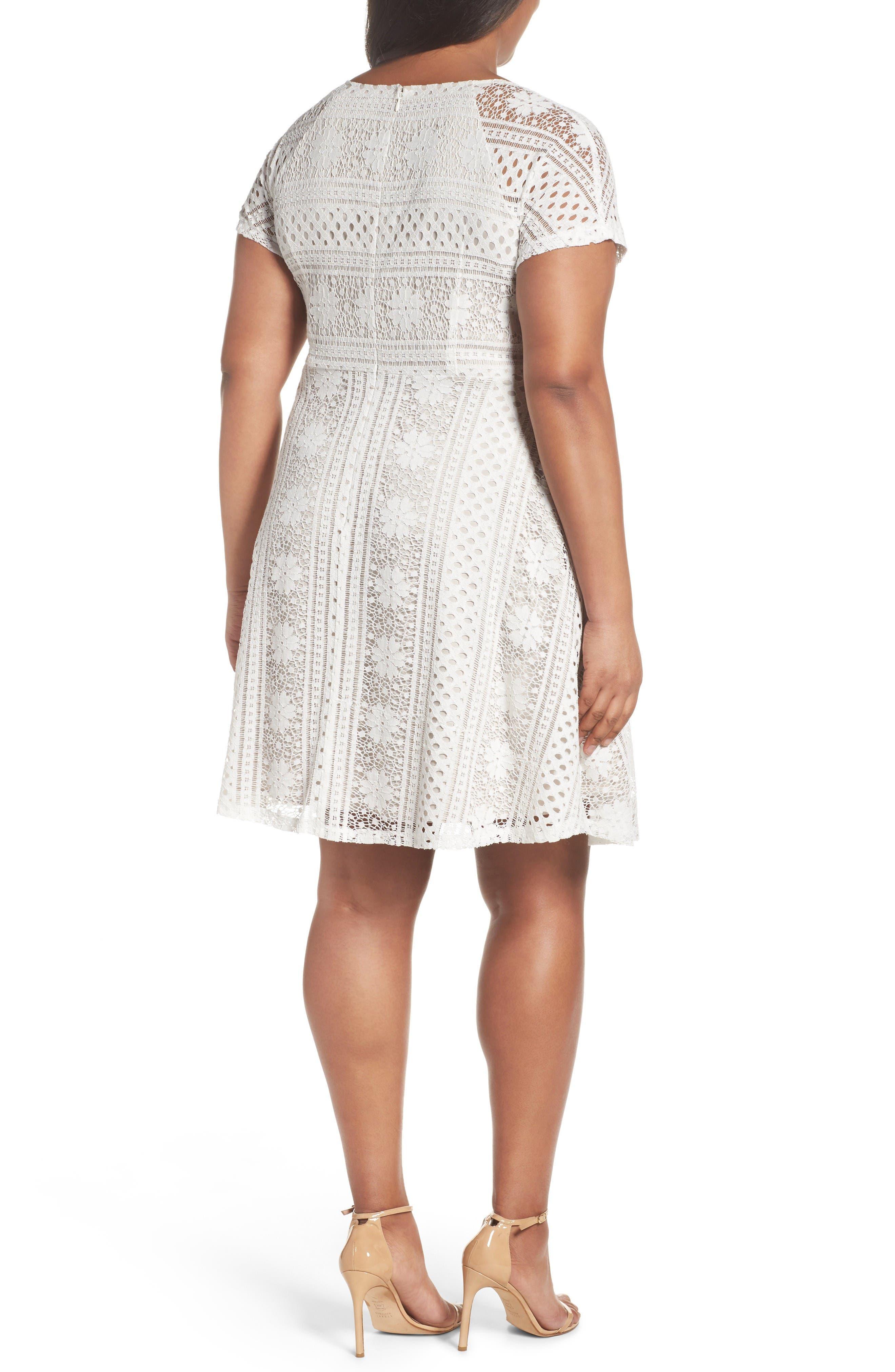 A-Line Lace Dress,                             Alternate thumbnail 2, color,                             Ivory/Chamois